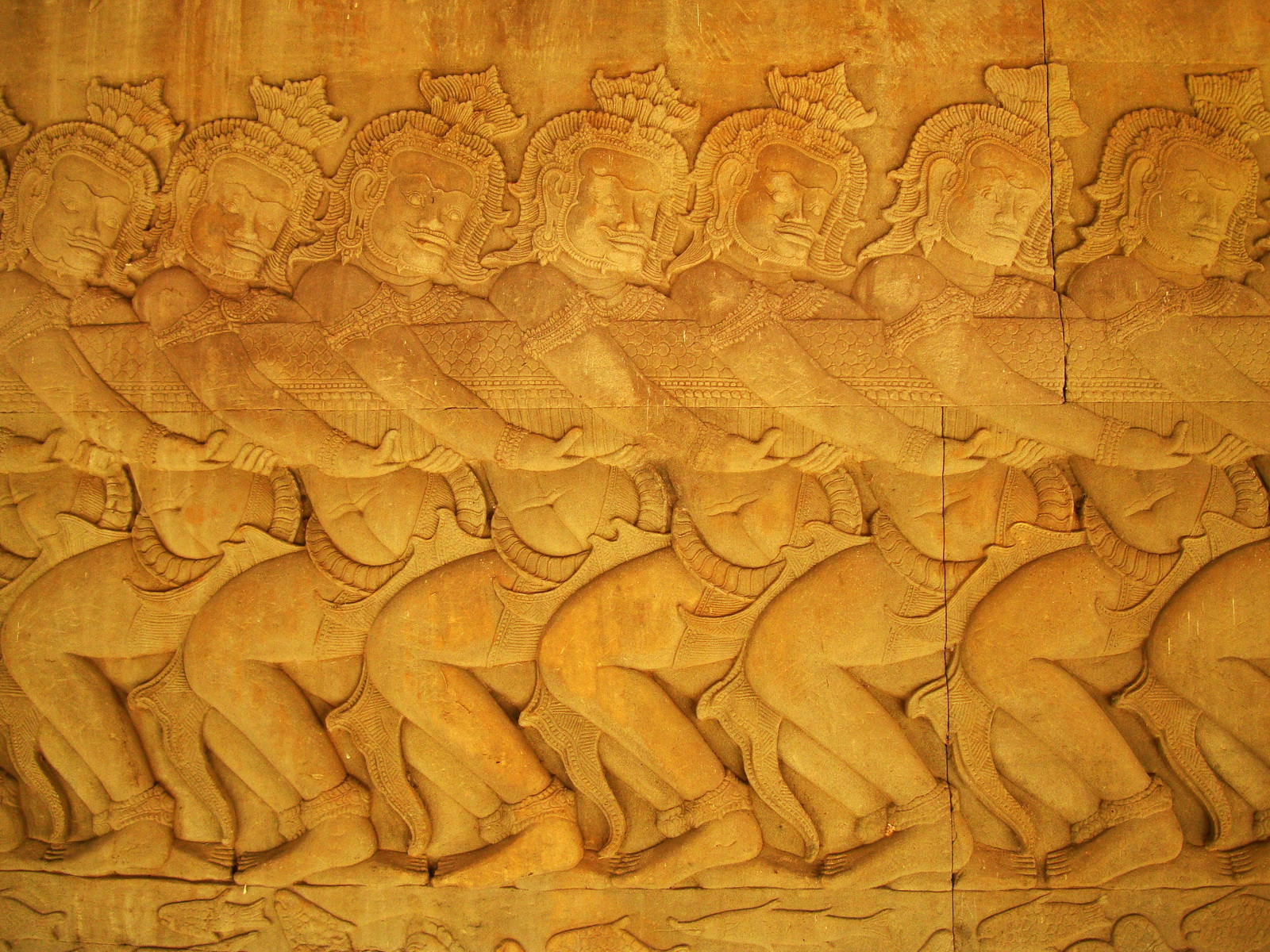 Angkor Wat Bas relief E Gallery S Wing Churning of the sea of milk 04