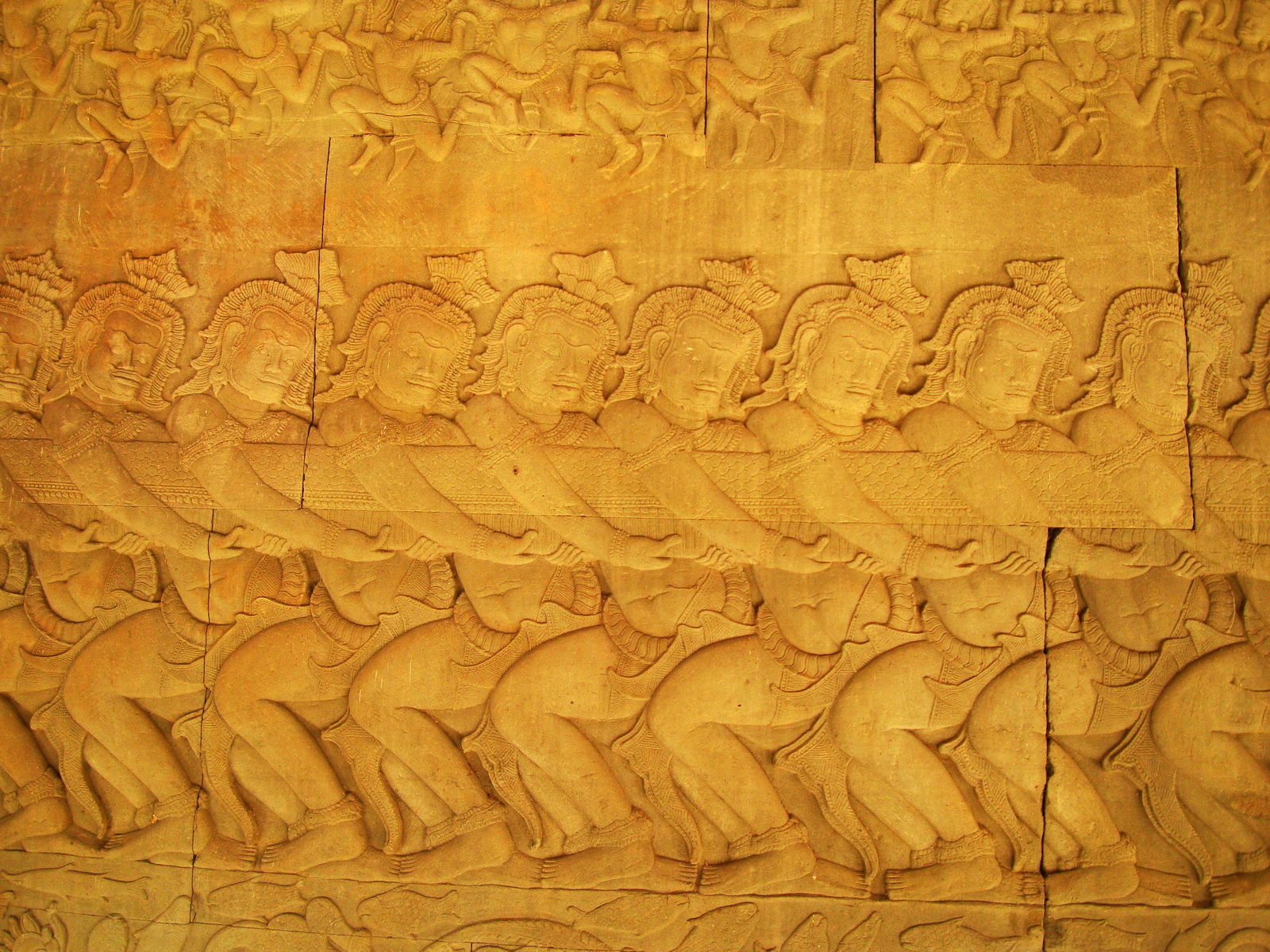 Angkor Wat Bas relief E Gallery S Wing Churning of the sea of milk 05