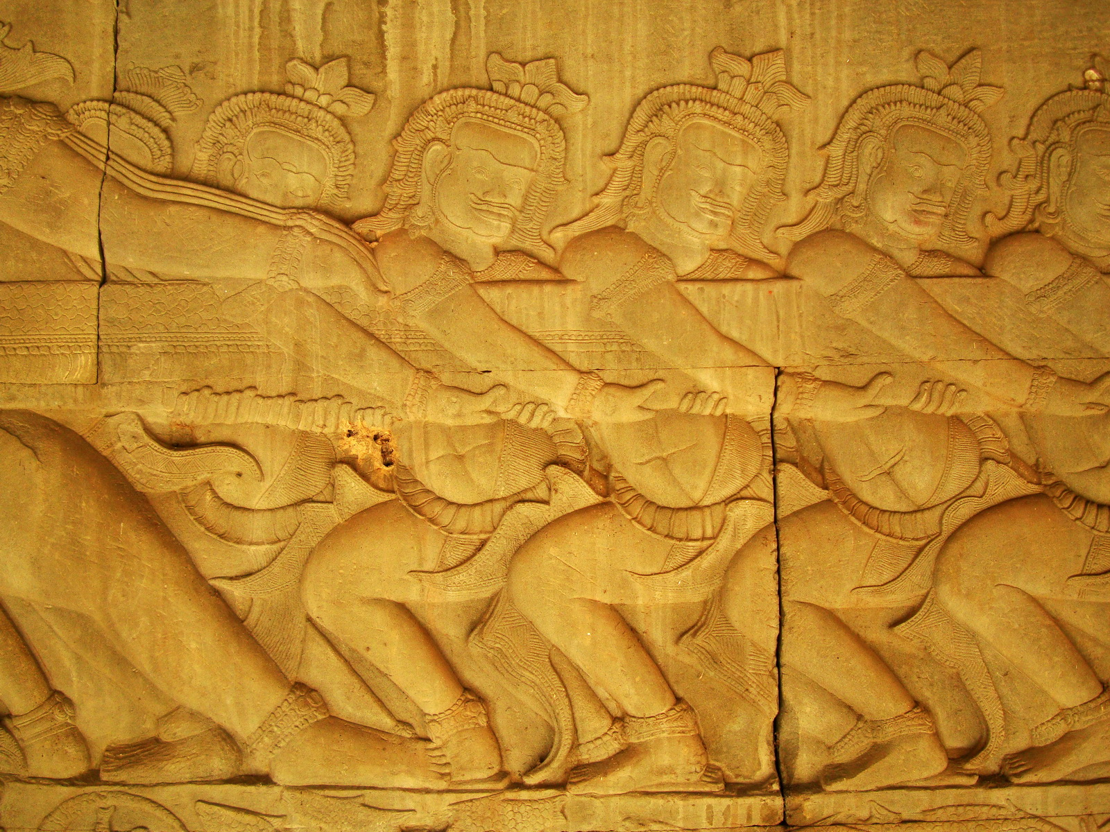 Angkor Wat Bas relief E Gallery S Wing Churning of the sea of milk 06