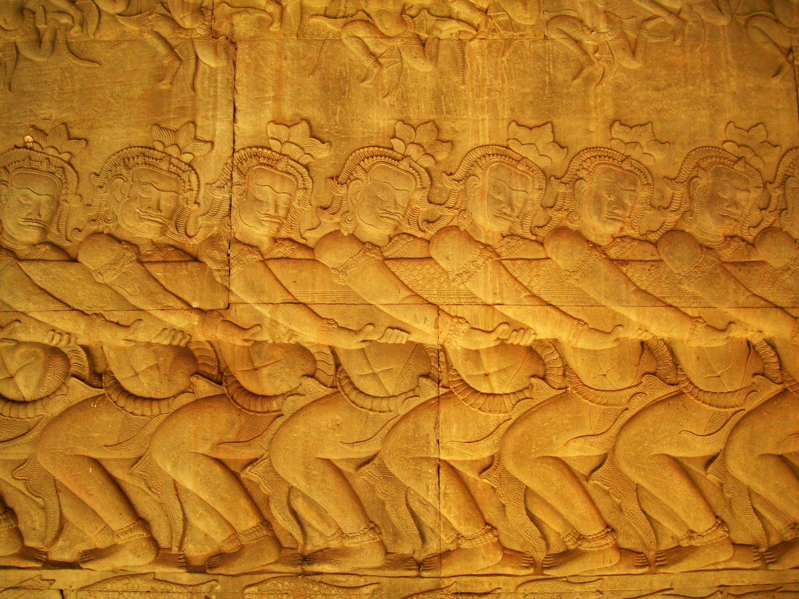 Angkor Wat Bas relief E Gallery S Wing Churning of the sea of milk 07