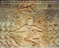 Asisbiz Center Vishnu asuras L and devas R apsaras and Indra above 01
