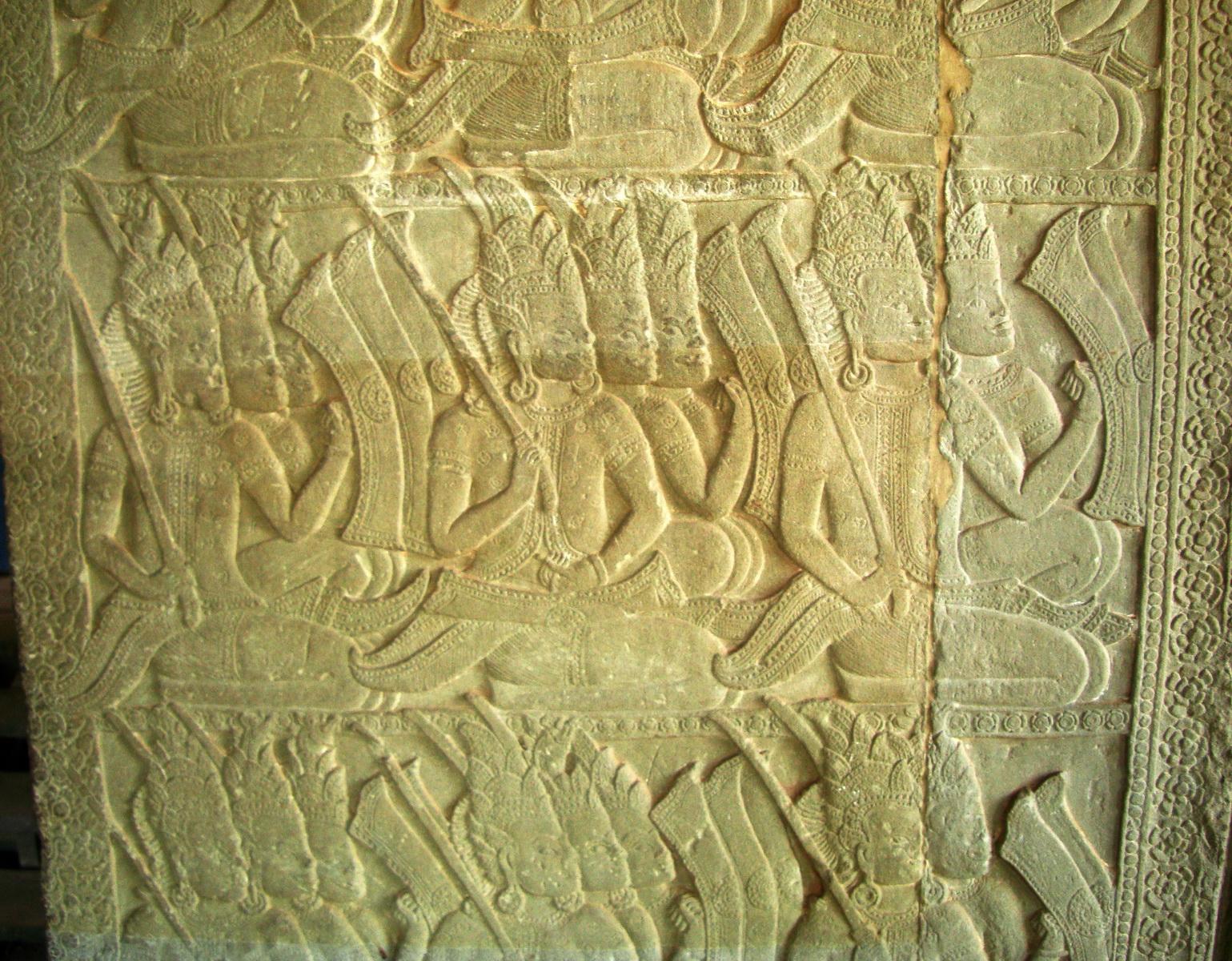 Angkor Wat Bas relief N Gallery W Wing Battle of Devas and Asuras 08