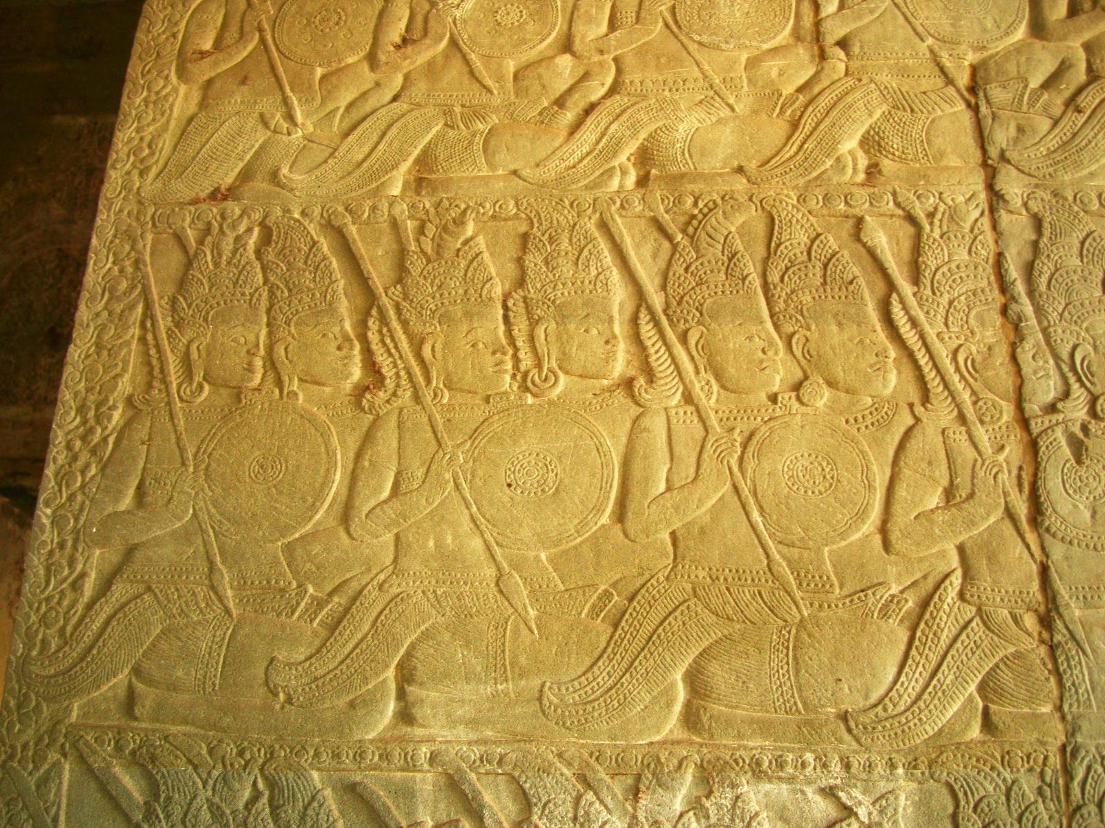 Angkor Wat Bas relief N Gallery W Wing Battle of Devas and Asuras 11