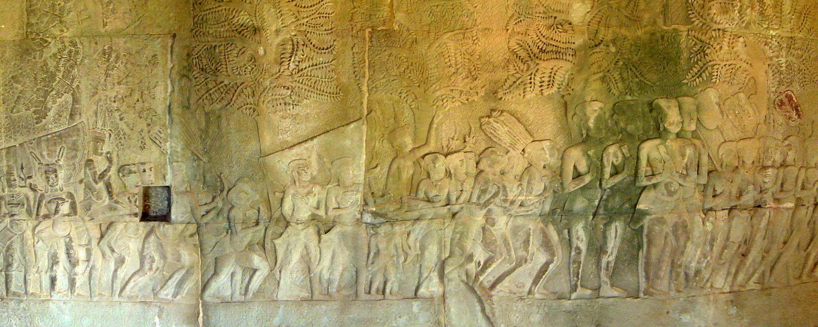 Angkor Wat Bas relief S Gallery W Wing Historic Procession 003