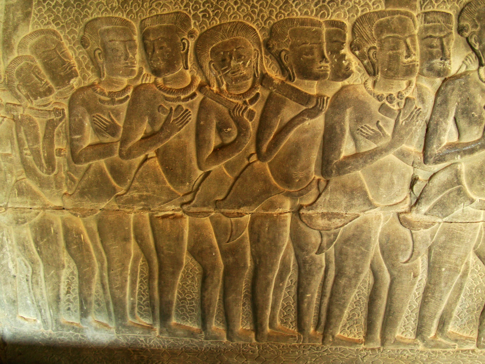 Angkor Wat Bas relief S Gallery W Wing Historic Procession 005