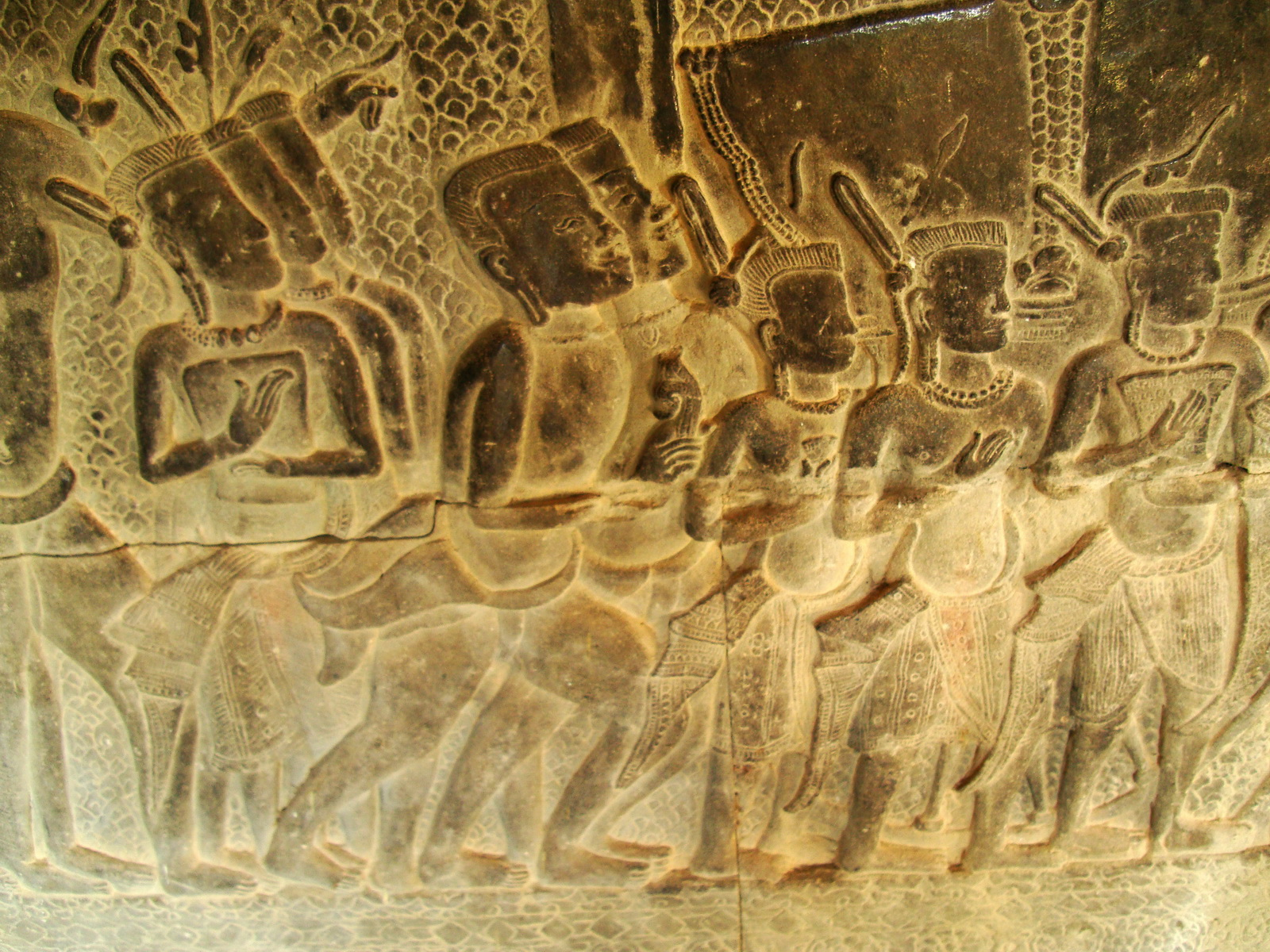 Angkor Wat Bas relief S Gallery W Wing Historic Procession 006