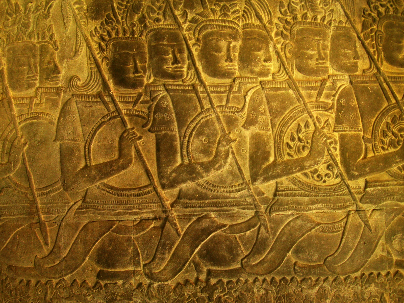 Angkor Wat Bas relief S Gallery W Wing Historic Procession 007