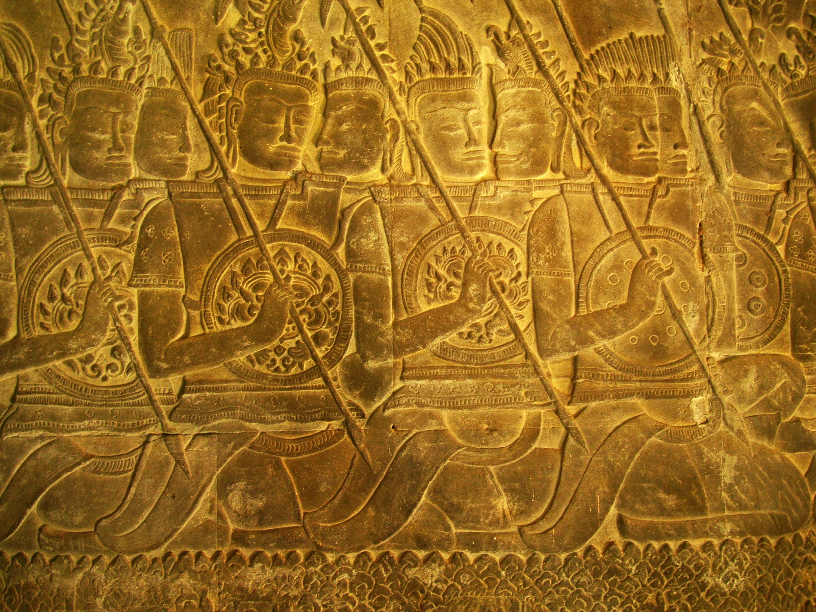 Angkor Wat Bas relief S Gallery W Wing Historic Procession 008