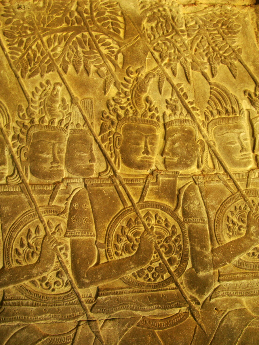 Angkor Wat Bas relief S Gallery W Wing Historic Procession 009