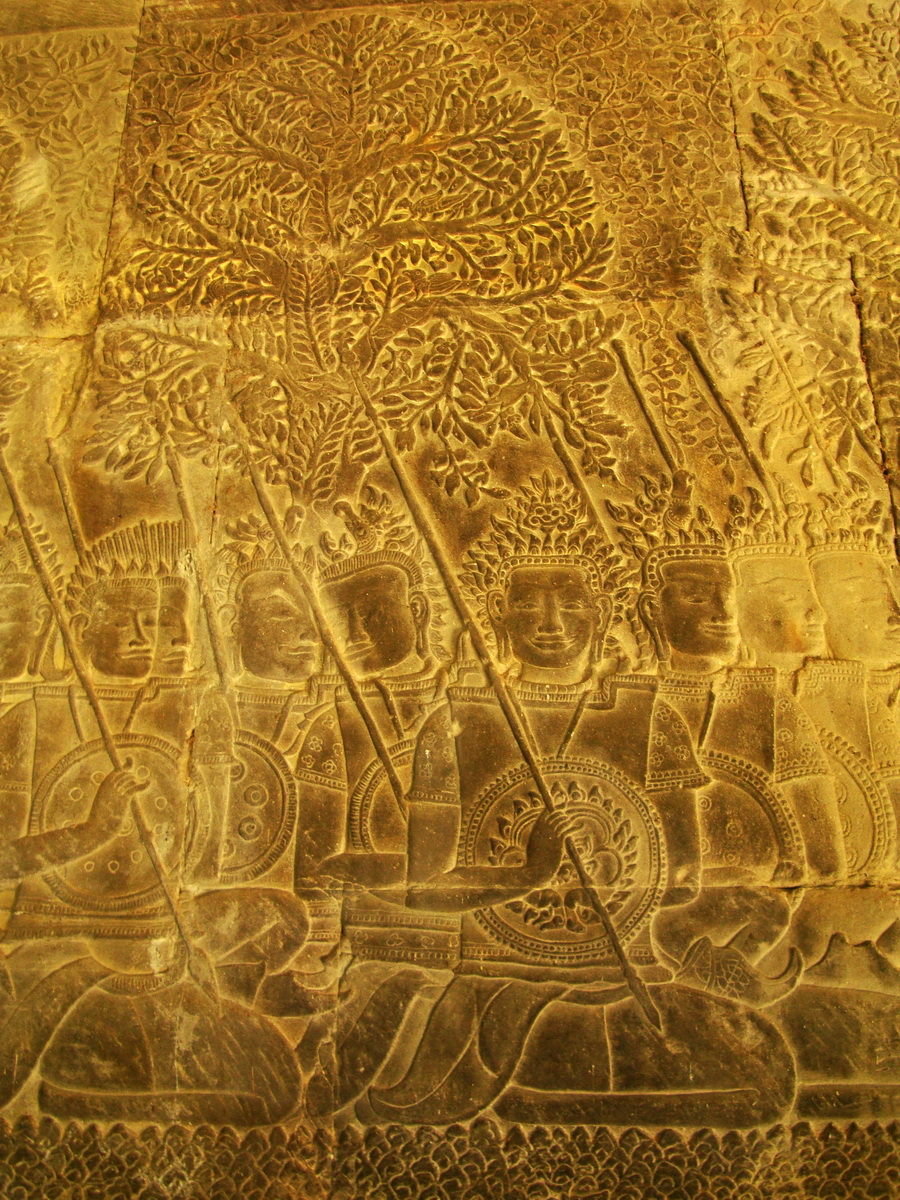 Angkor Wat Bas relief S Gallery W Wing Historic Procession 011