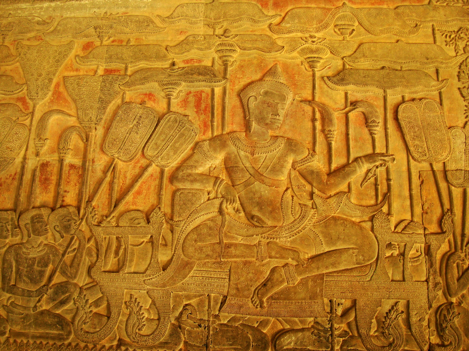 Angkor Wat Bas relief S Gallery W Wing Historic Procession 014