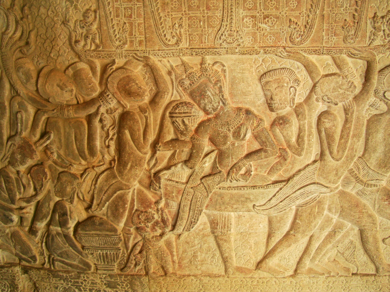 Angkor Wat Bas relief S Gallery W Wing Historic Procession 018