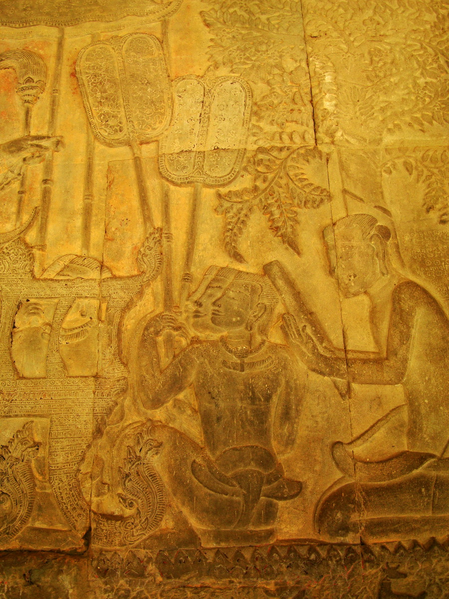 Angkor Wat Bas relief S Gallery W Wing Historic Procession 020