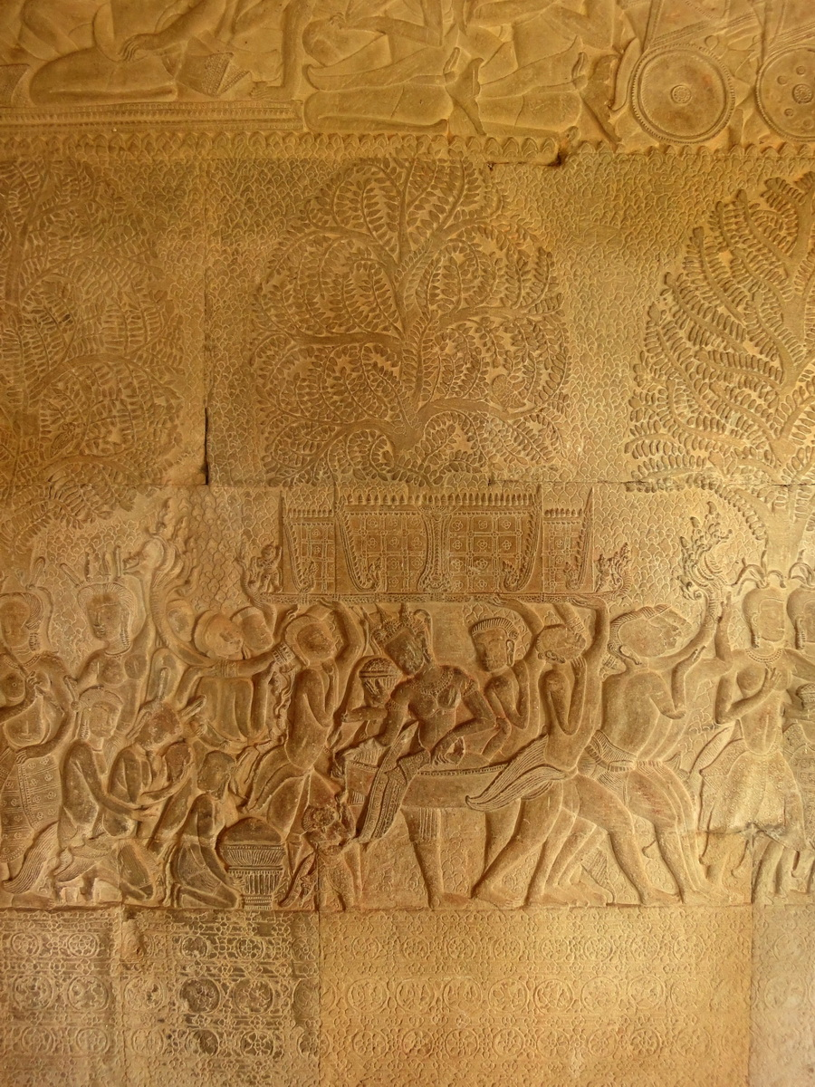 Angkor Wat Bas relief S Gallery W Wing Historic Procession 023