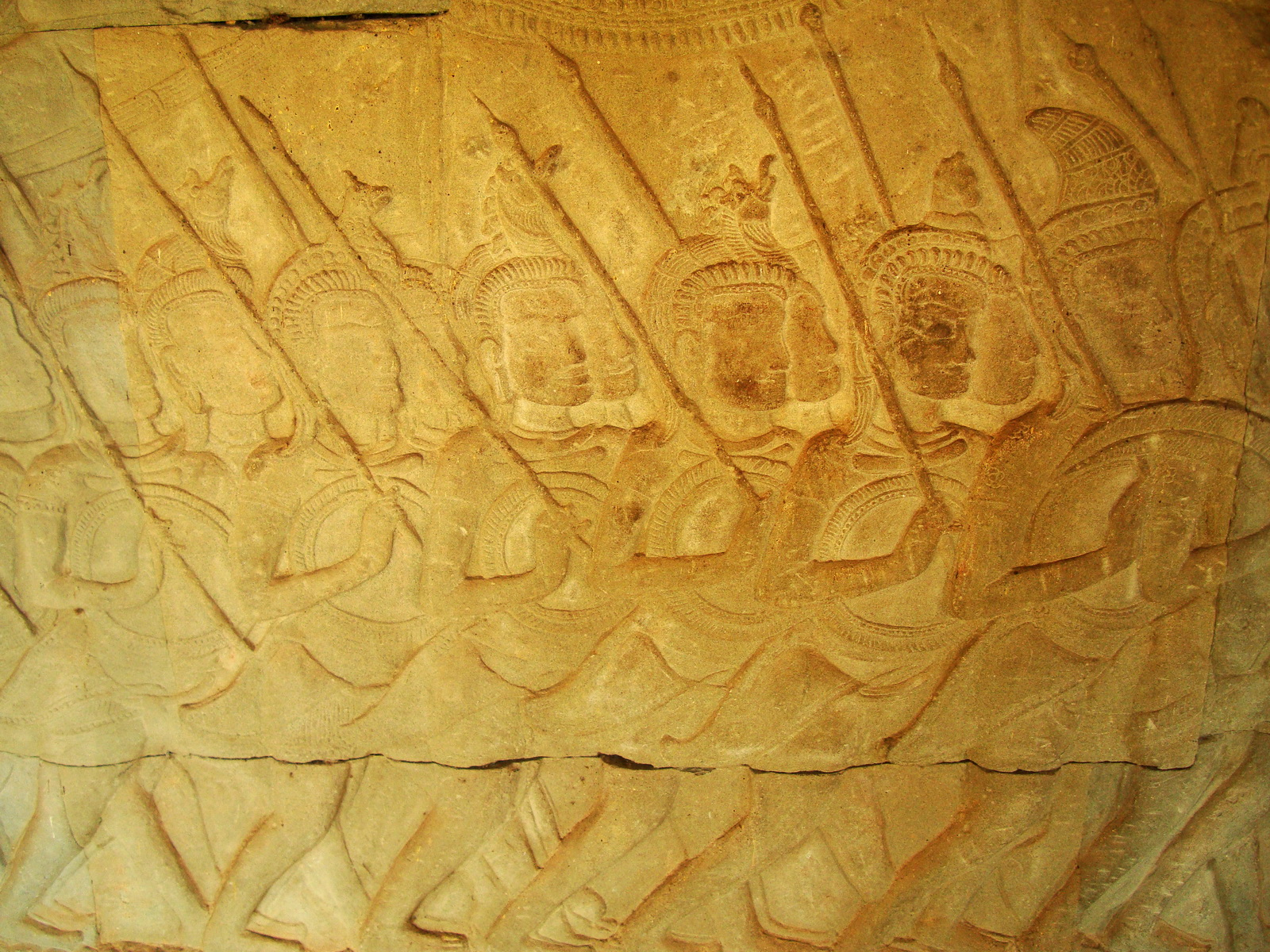 Angkor Wat Bas relief S Gallery W Wing Historic Procession 037