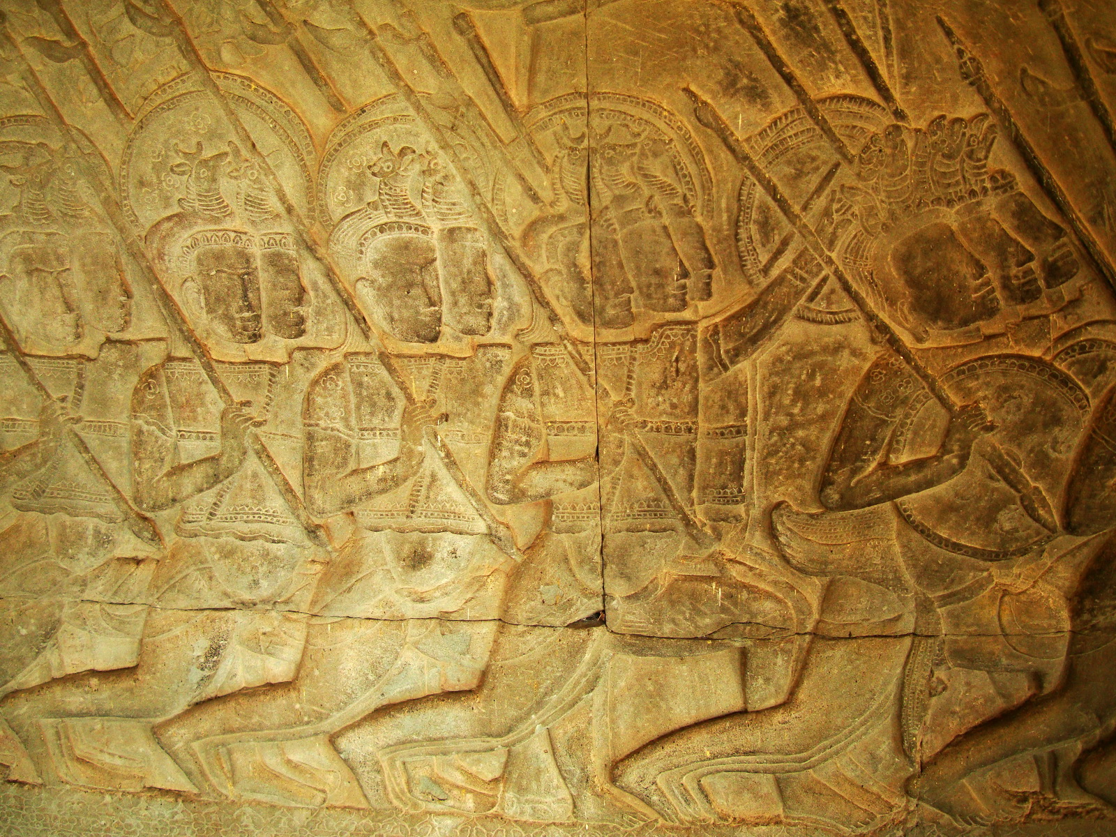Angkor Wat Bas relief S Gallery W Wing Historic Procession 038