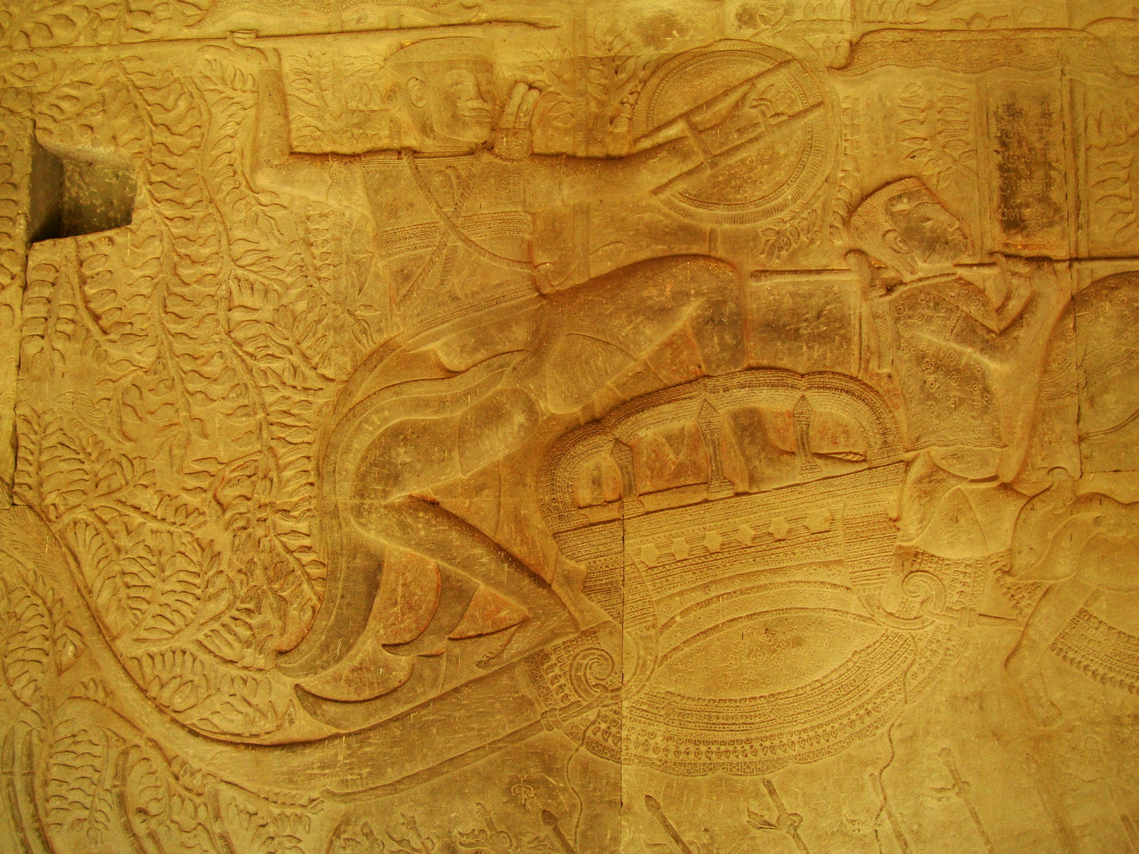 Angkor Wat Bas relief S Gallery W Wing Historic Procession 055