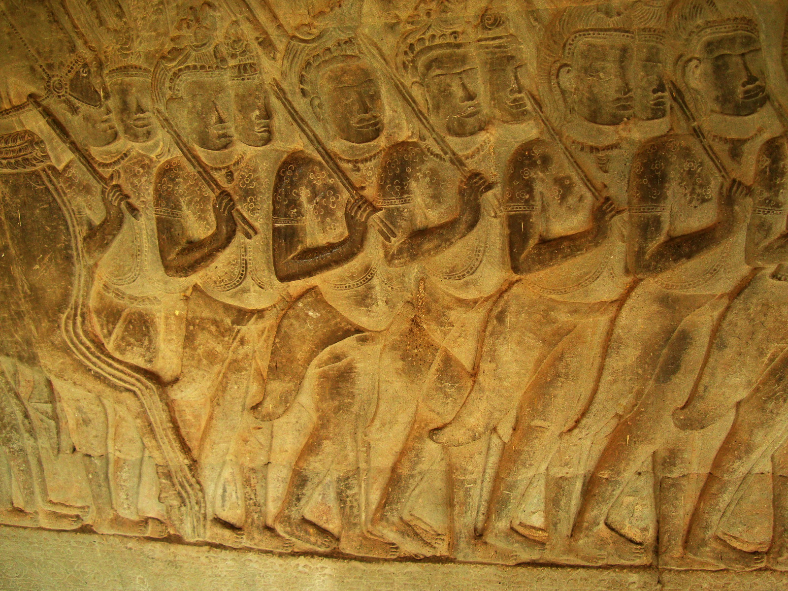 Angkor Wat Bas relief S Gallery W Wing Historic Procession 056