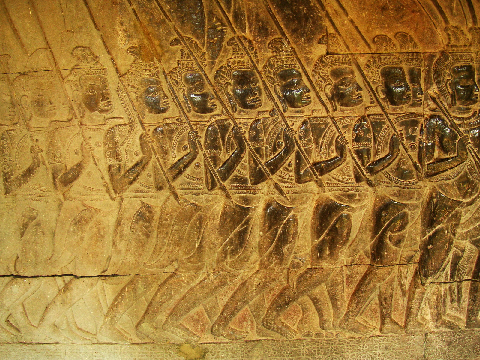 Angkor Wat Bas relief S Gallery W Wing Historic Procession 065