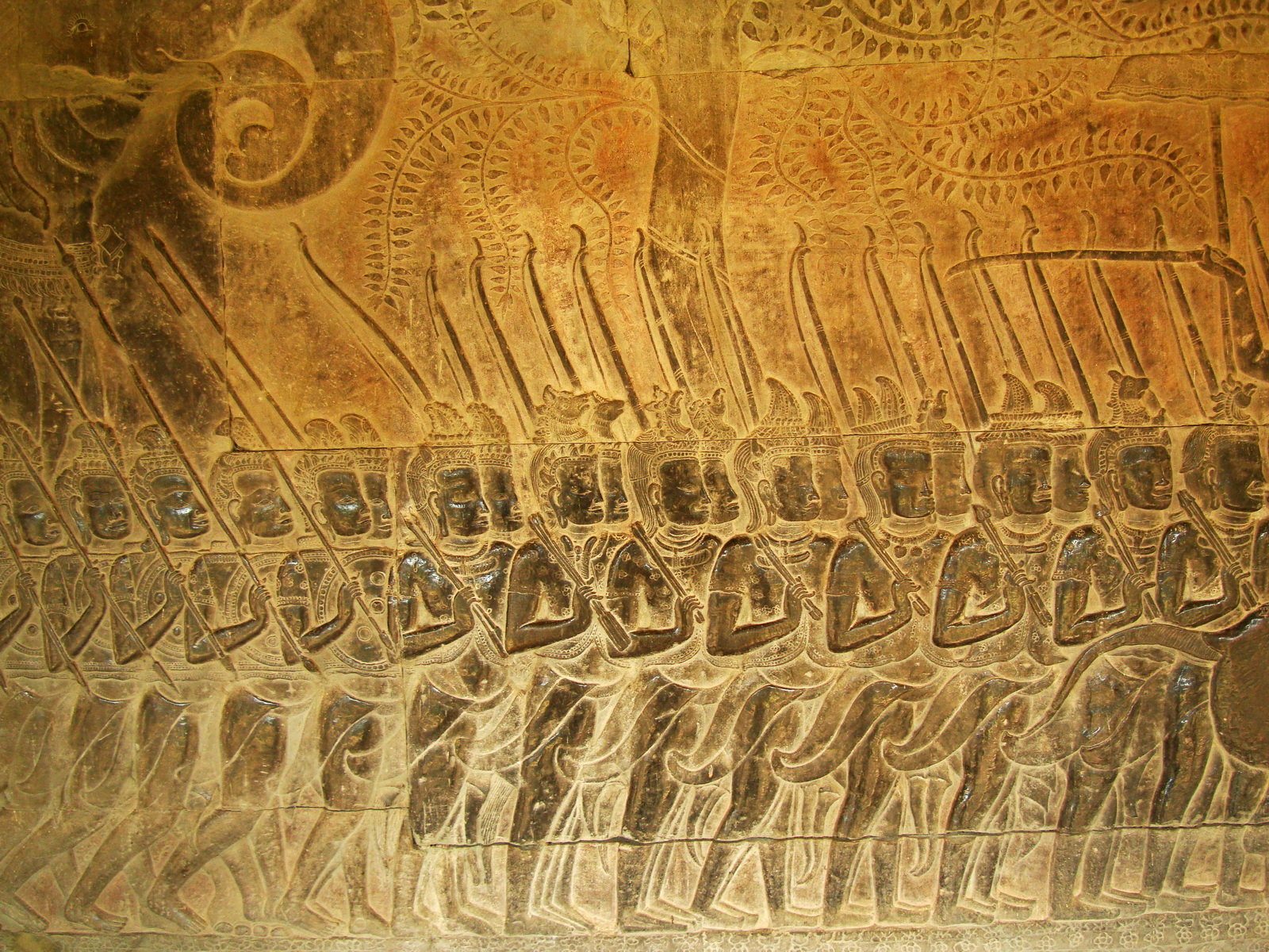 Angkor Wat Bas relief S Gallery W Wing Historic Procession 066
