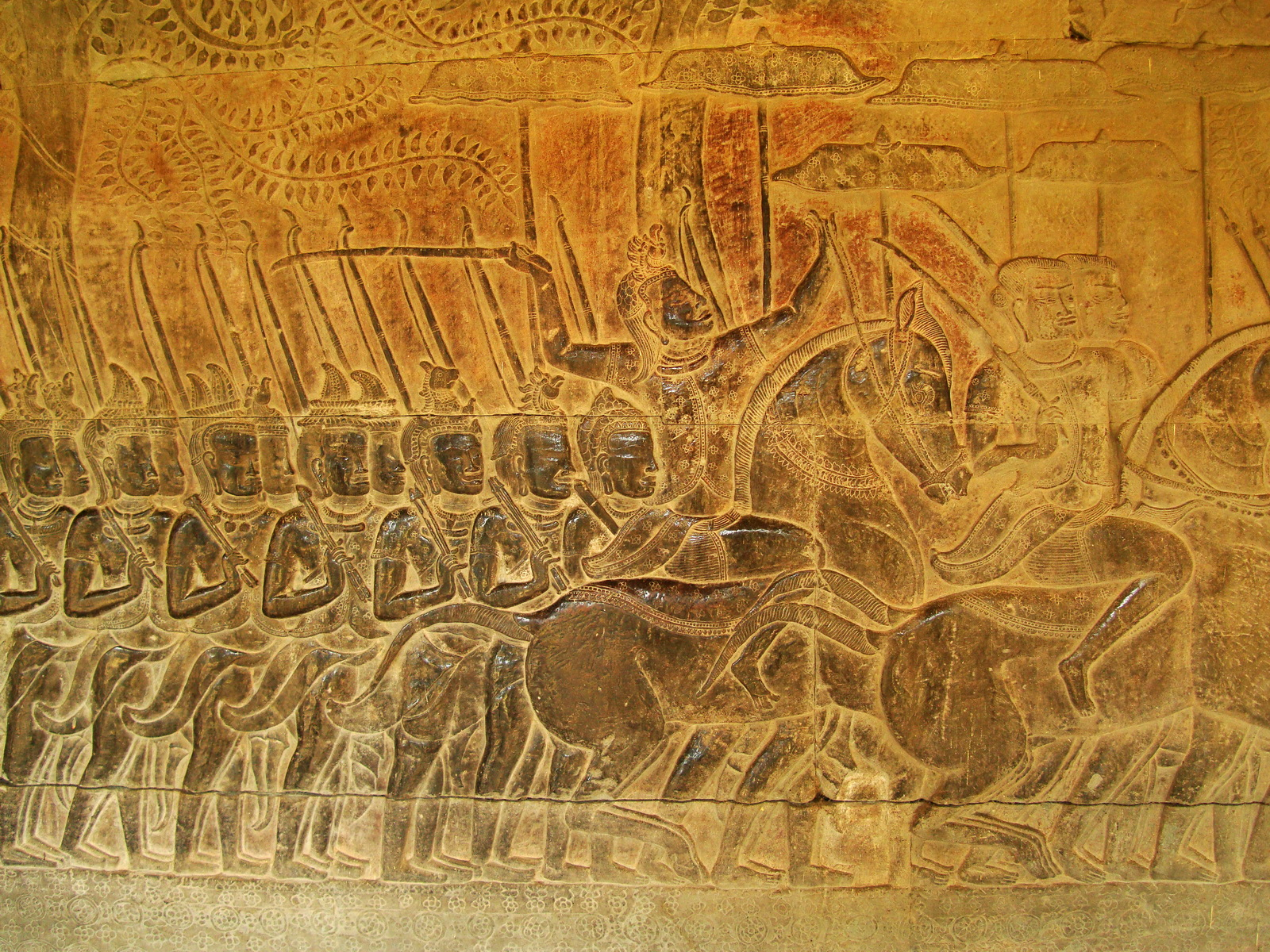 Angkor Wat Bas relief S Gallery W Wing Historic Procession 067