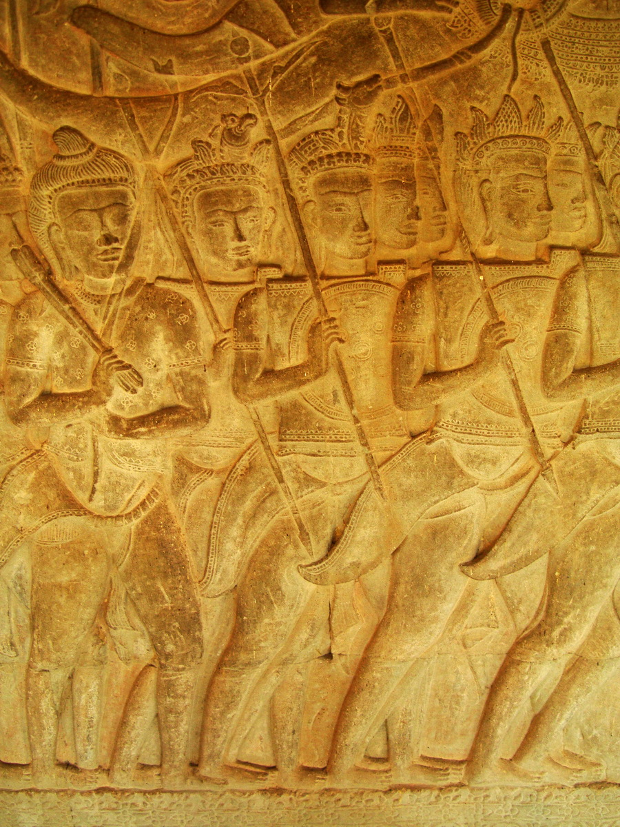Angkor Wat Bas relief S Gallery W Wing Historic Procession 071