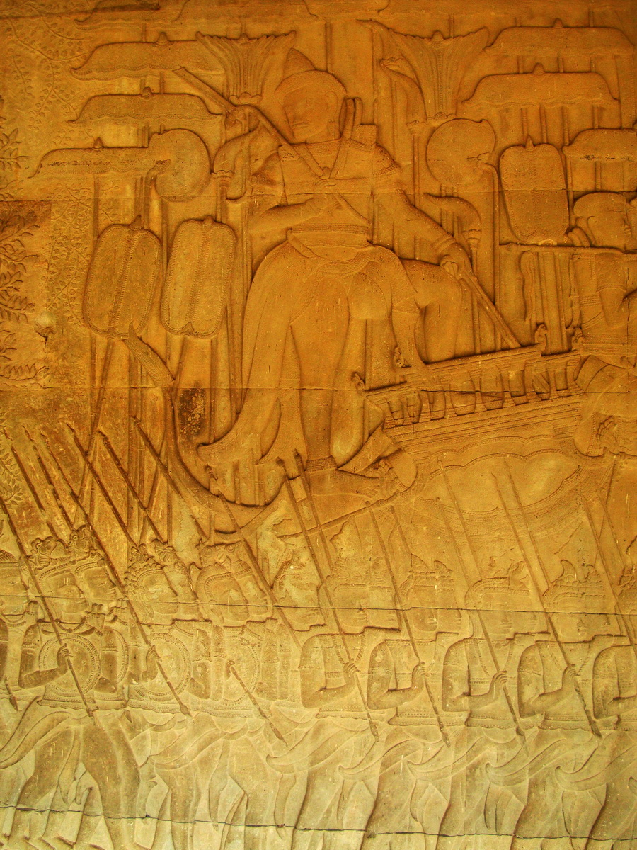 Angkor Wat Bas relief S Gallery W Wing Historic Procession 073