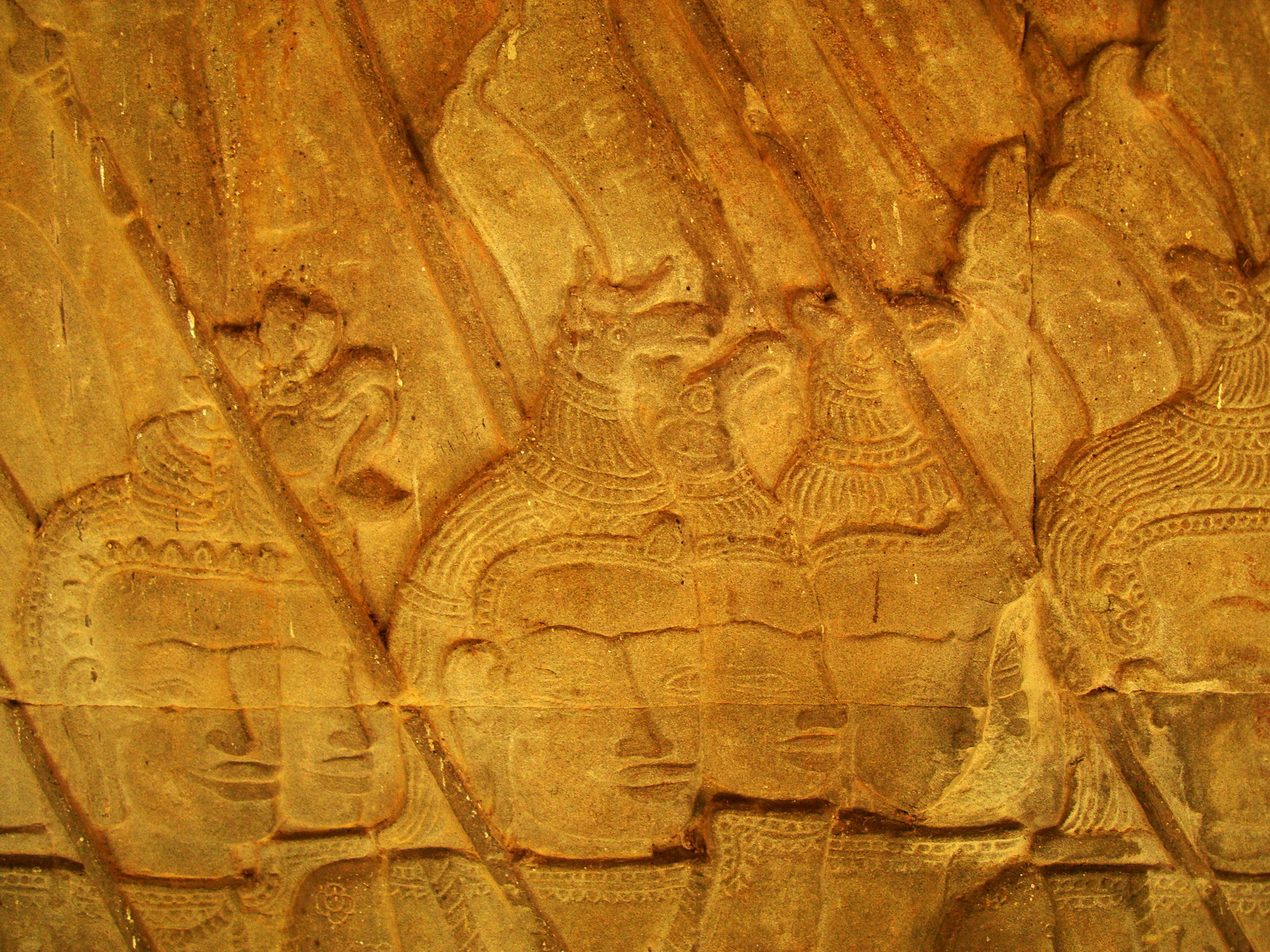 Angkor Wat Bas relief S Gallery W Wing Historic Procession 076