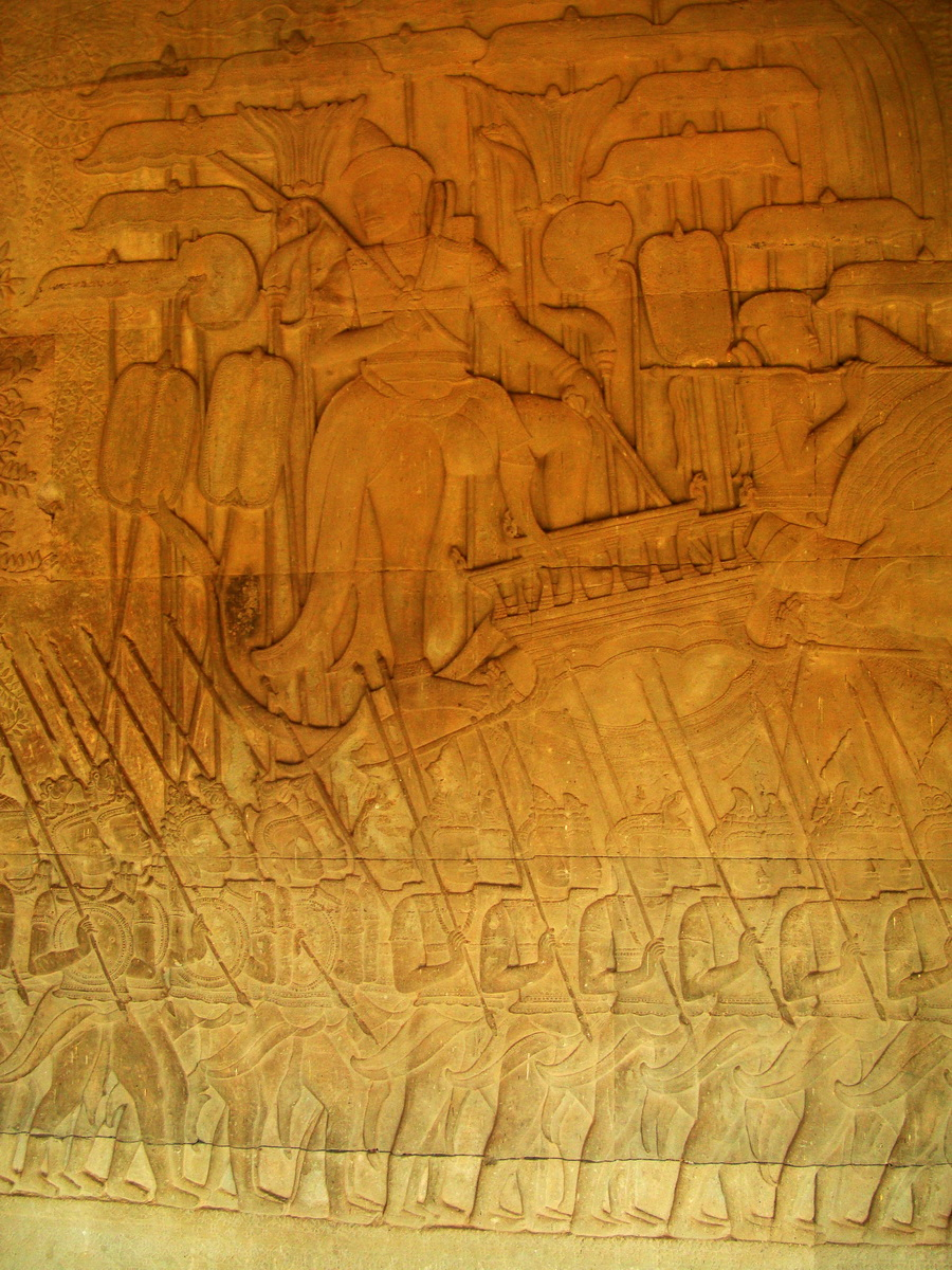 Angkor Wat Bas relief S Gallery W Wing Historic Procession 078
