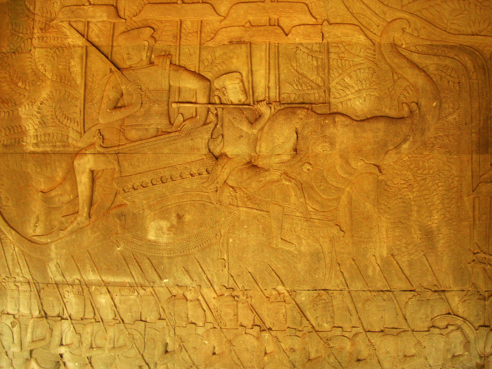 Angkor Wat Bas relief S Gallery W Wing Historic Procession 080