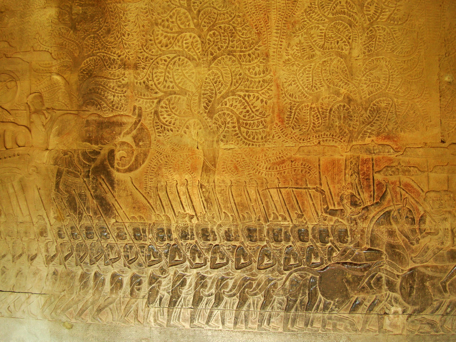 Angkor Wat Bas relief S Gallery W Wing Historic Procession 083