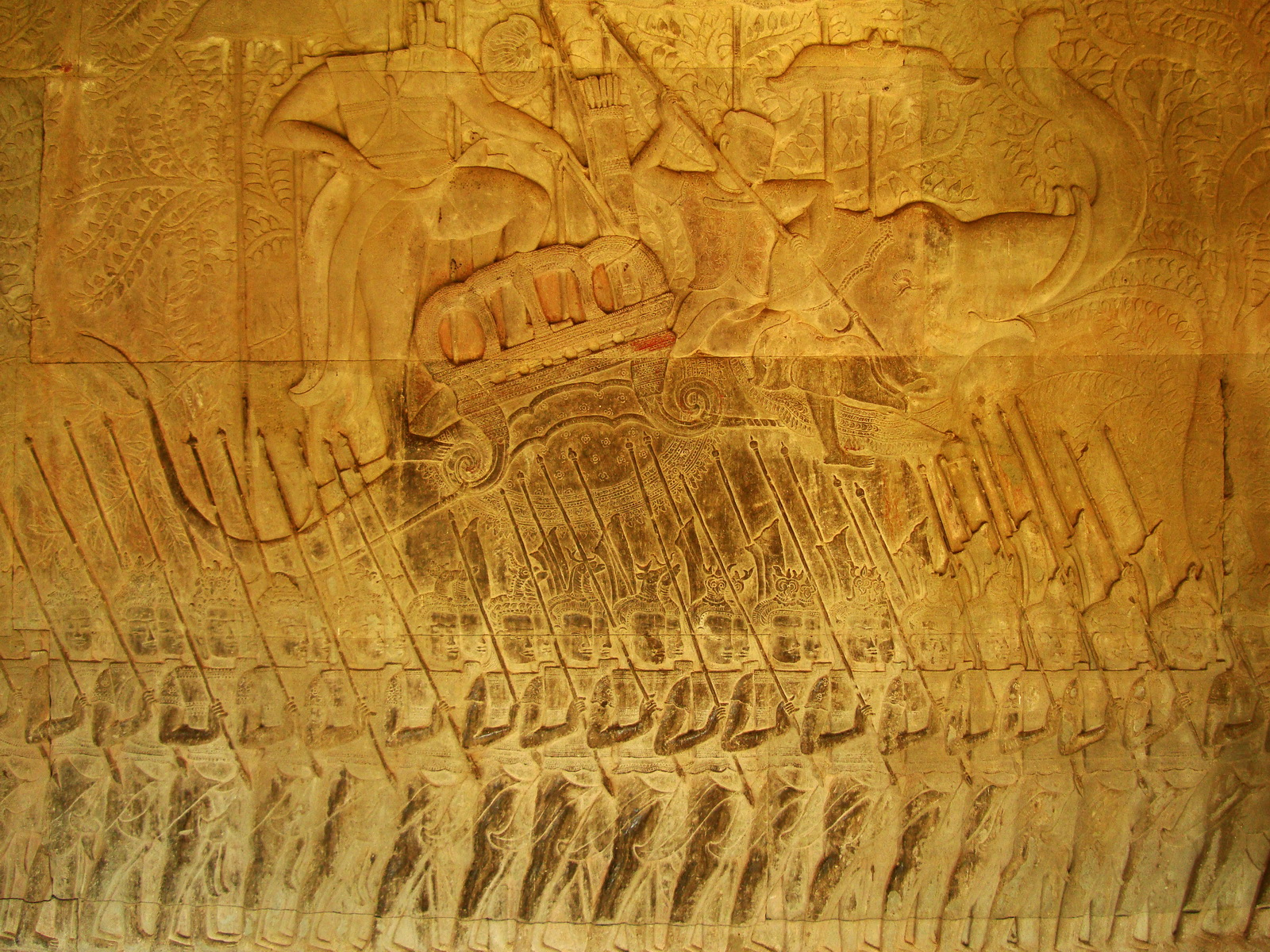 Angkor Wat Bas relief S Gallery W Wing Historic Procession 084