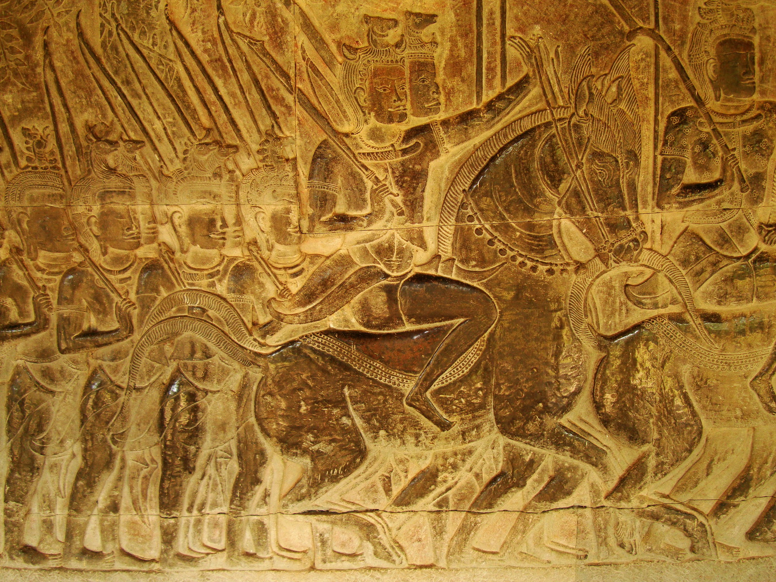 Angkor Wat Bas relief S Gallery W Wing Historic Procession 085