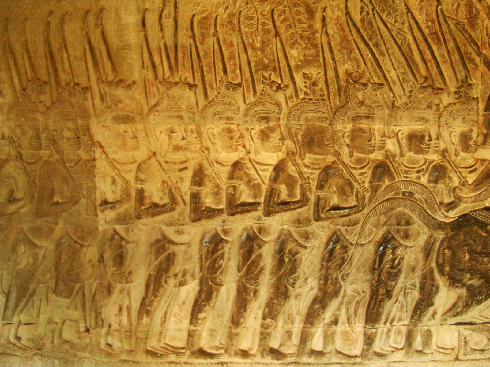 Angkor Wat Bas relief S Gallery W Wing Historic Procession 086