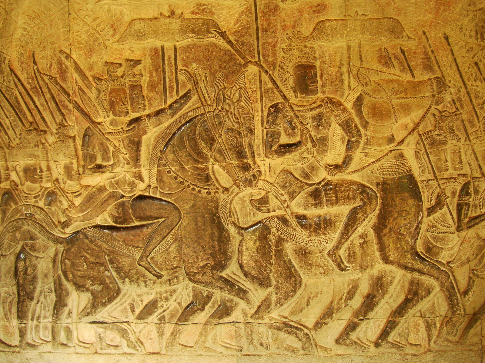 Angkor Wat Bas relief S Gallery W Wing Historic Procession 087