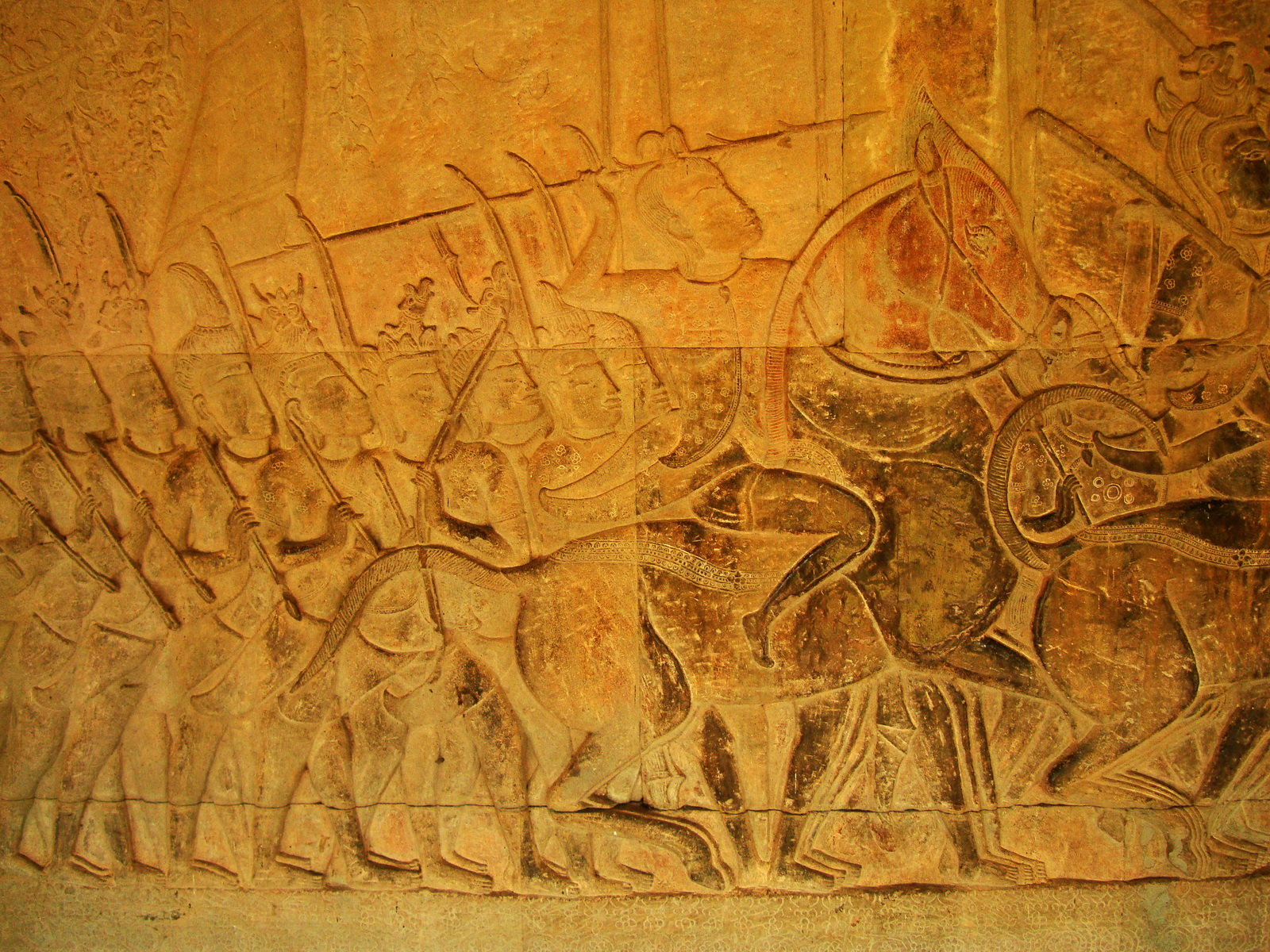 Angkor Wat Bas relief S Gallery W Wing Historic Procession 089