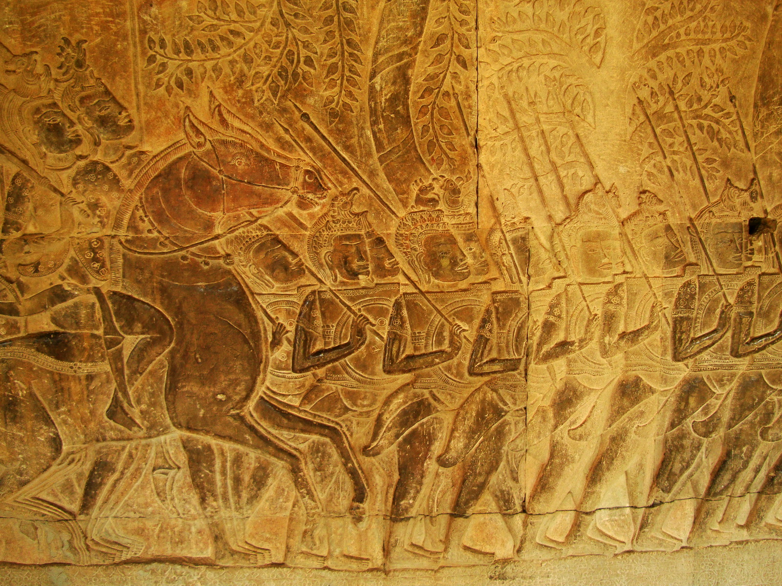 Angkor Wat Bas relief S Gallery W Wing Historic Procession 093