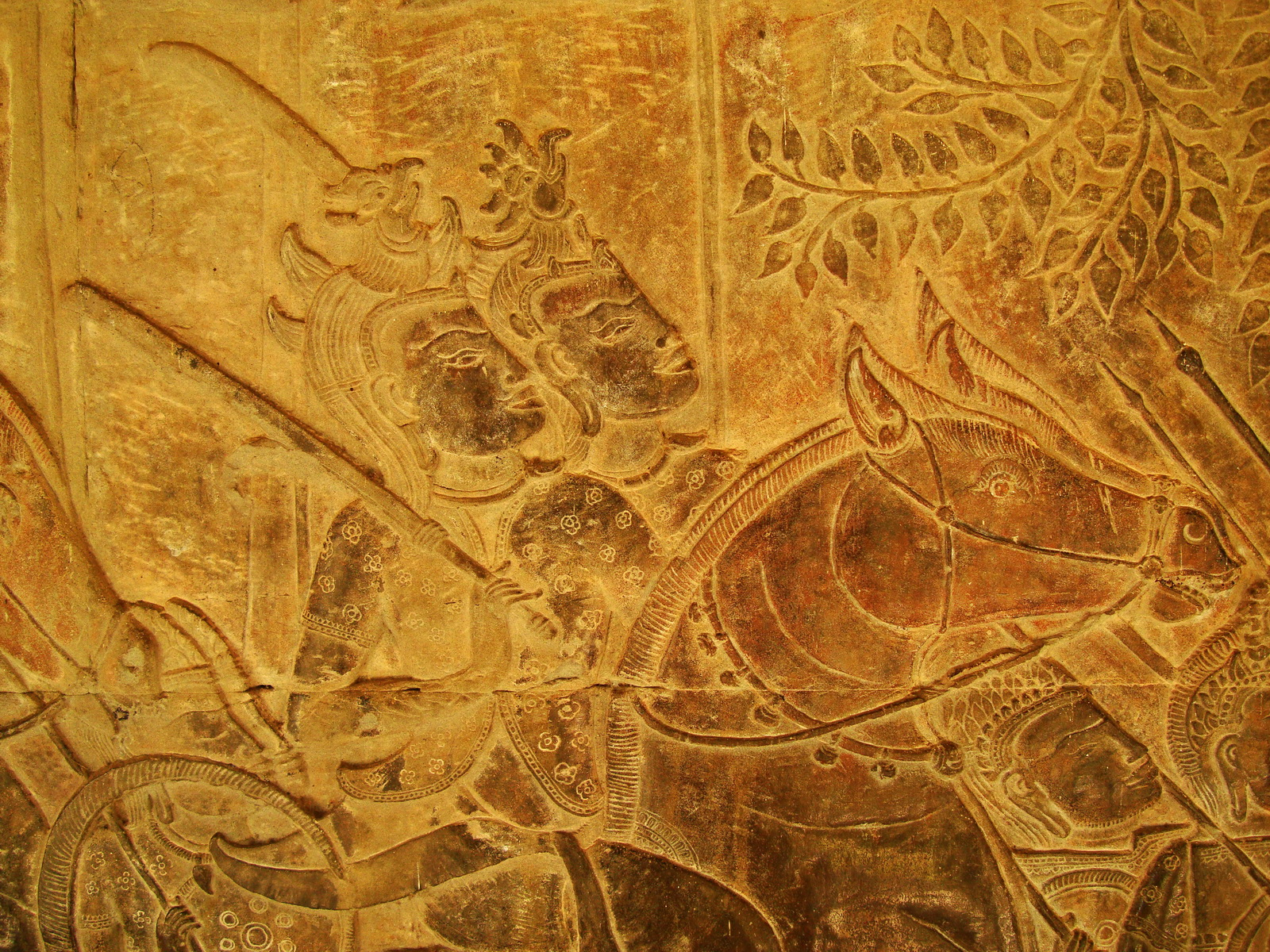 Angkor Wat Bas relief S Gallery W Wing Historic Procession 095