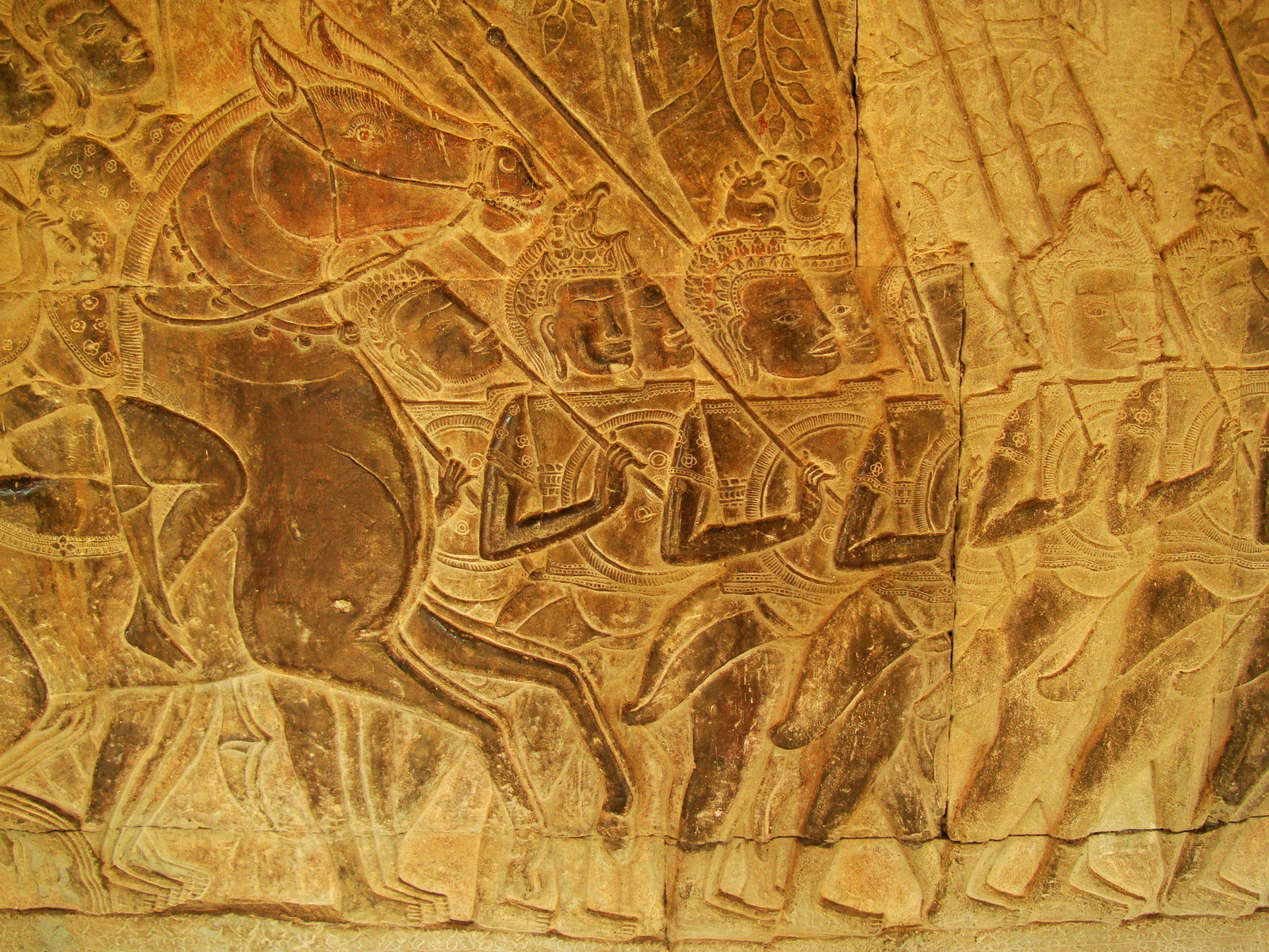 Angkor Wat Bas relief S Gallery W Wing Historic Procession 096