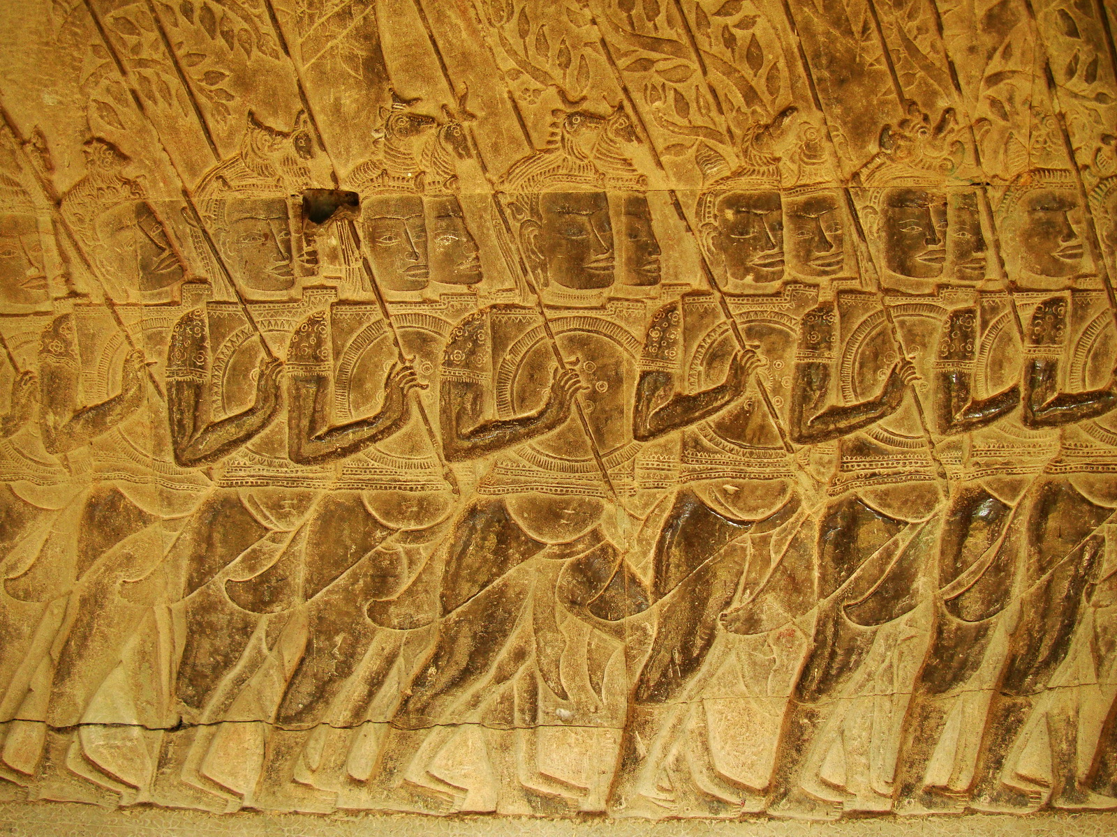 Angkor Wat Bas relief S Gallery W Wing Historic Procession 097