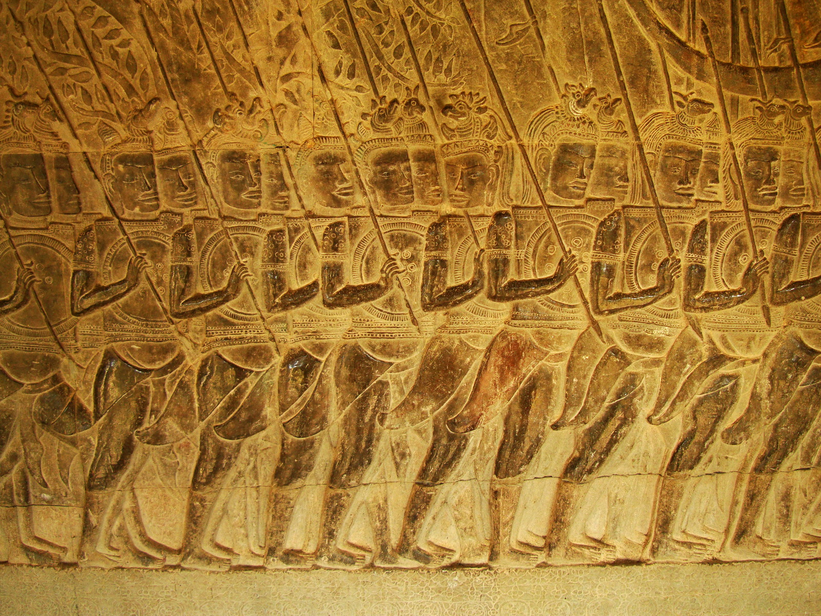 Angkor Wat Bas relief S Gallery W Wing Historic Procession 098