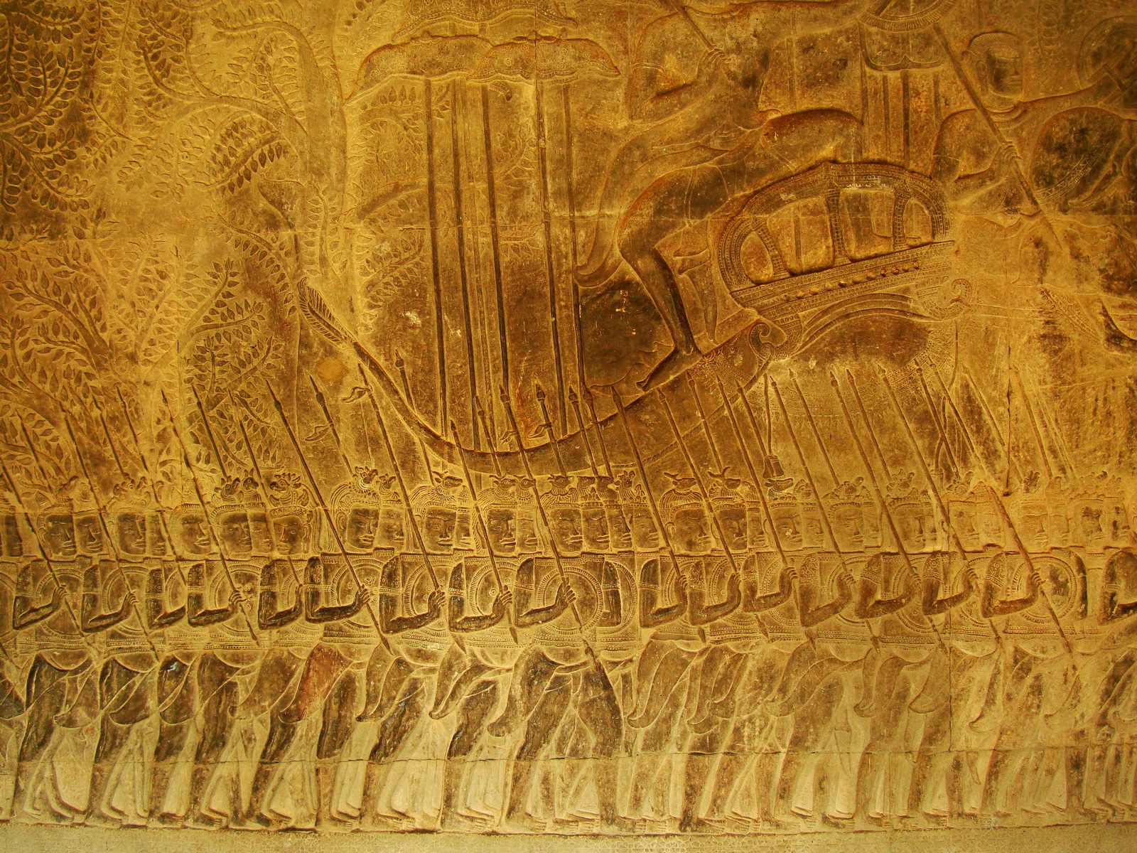 Angkor Wat Bas relief S Gallery W Wing Historic Procession 099