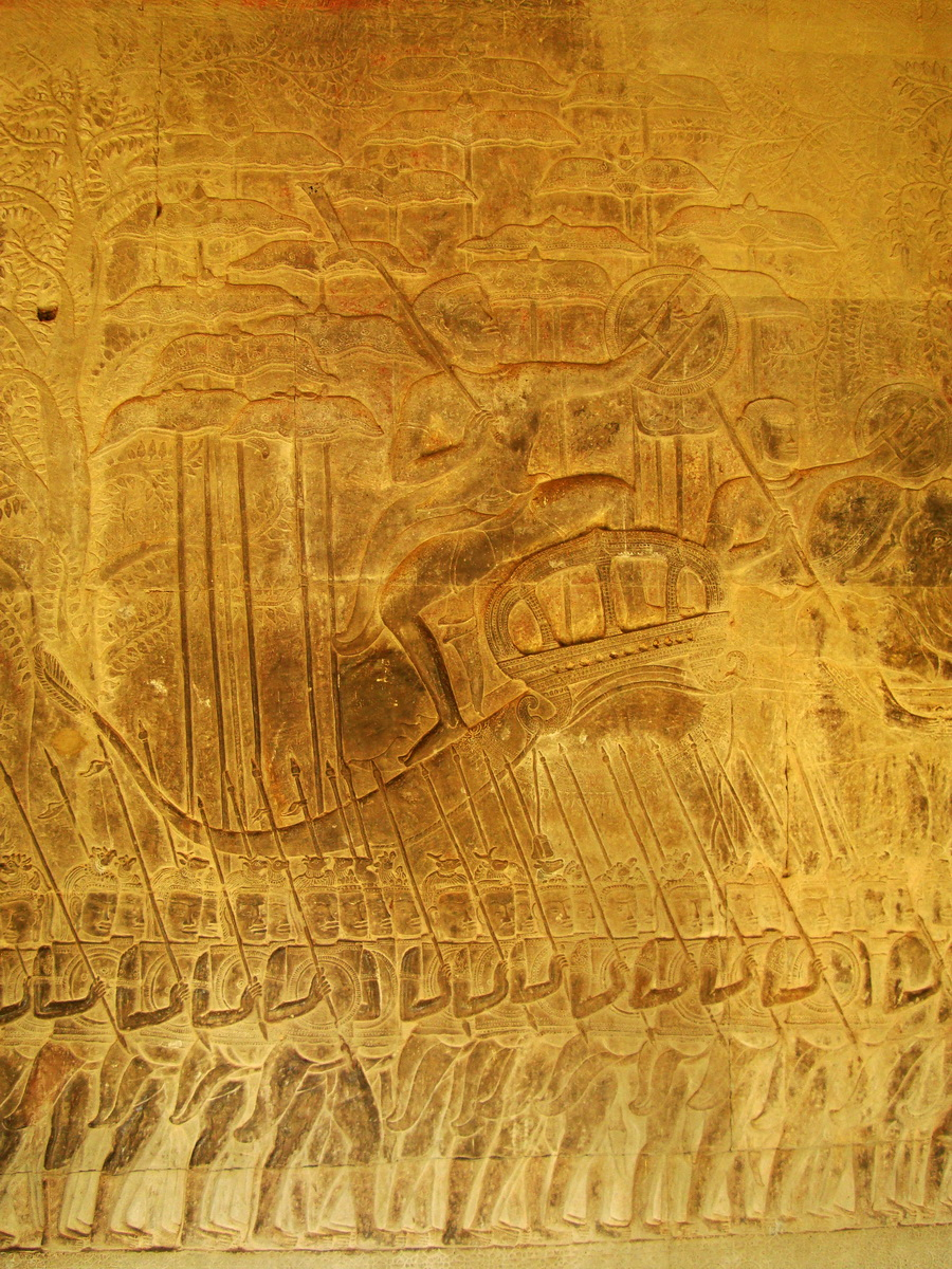 Angkor Wat Bas relief S Gallery W Wing Historic Procession 100