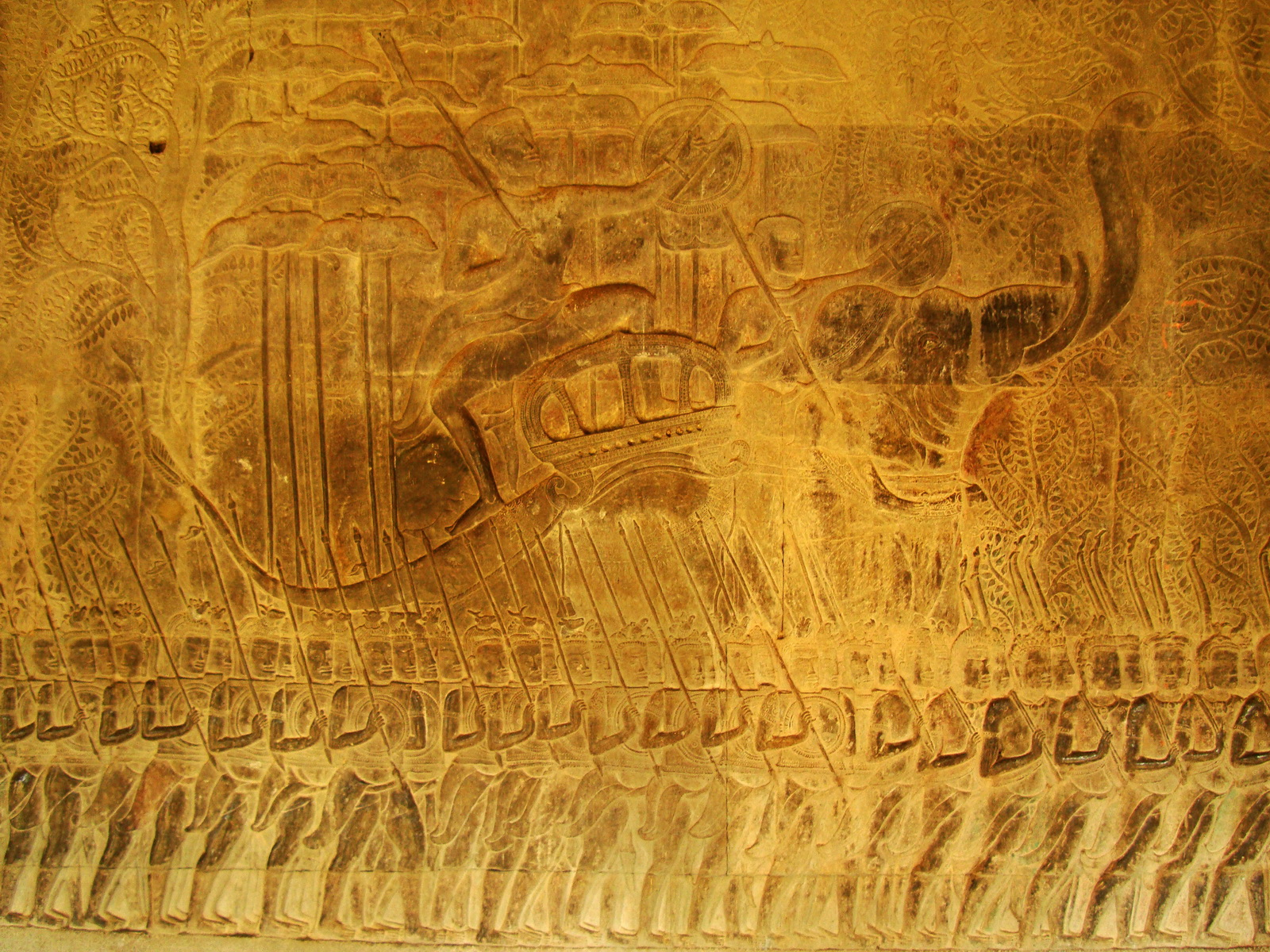 Angkor Wat Bas relief S Gallery W Wing Historic Procession 101