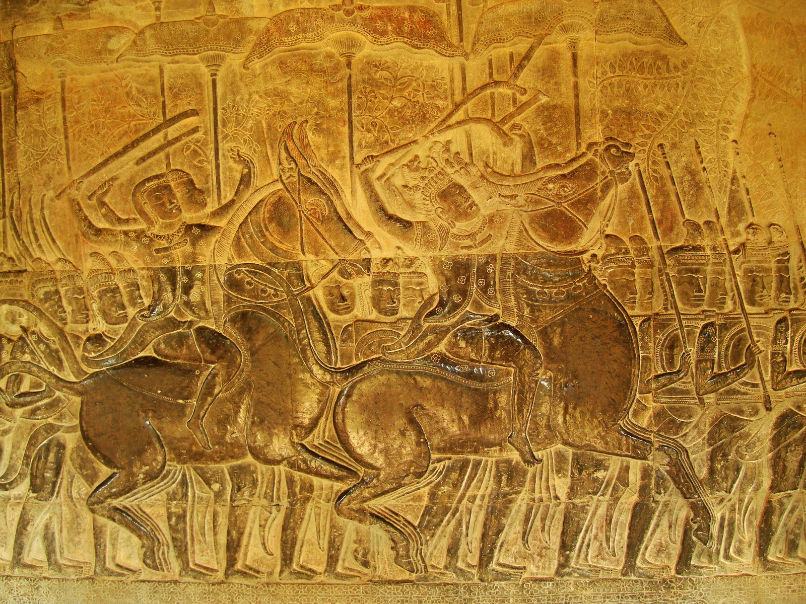 Angkor Wat Bas relief S Gallery W Wing Historic Procession 103