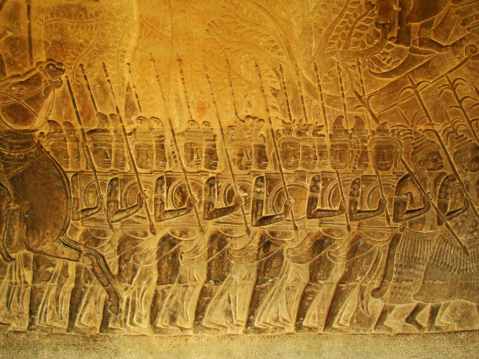Angkor Wat Bas relief S Gallery W Wing Historic Procession 104