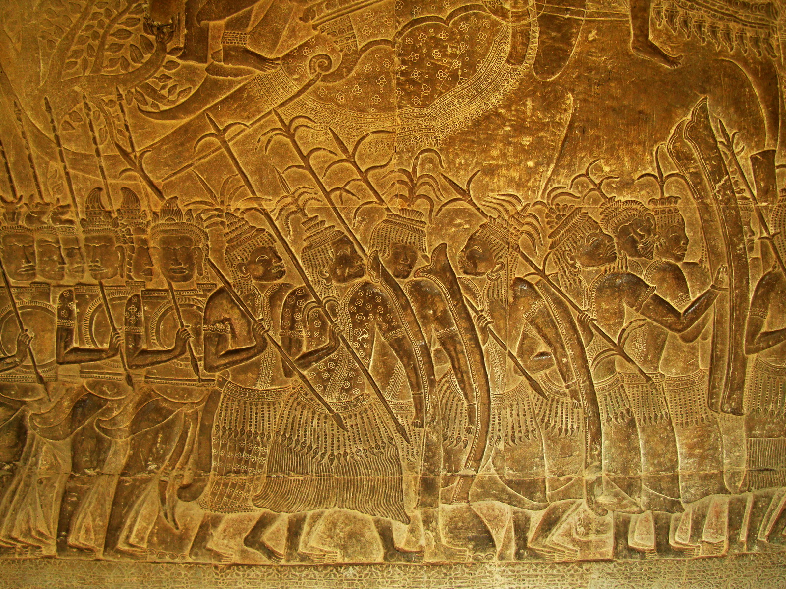 Angkor Wat Bas relief S Gallery W Wing Historic Procession 105
