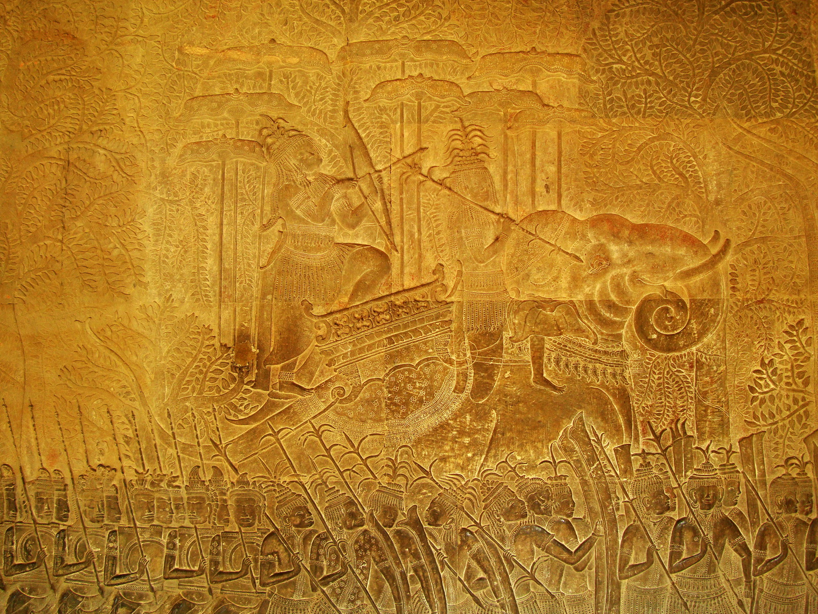 Angkor Wat Bas relief S Gallery W Wing Historic Procession 106