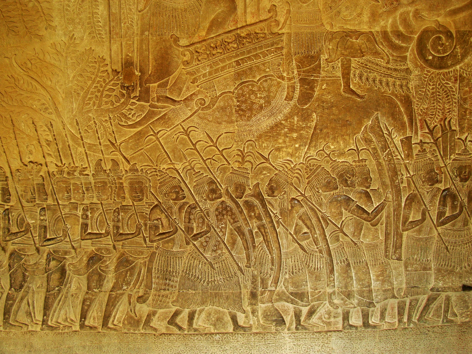 Angkor Wat Bas relief S Gallery W Wing Historic Procession 107