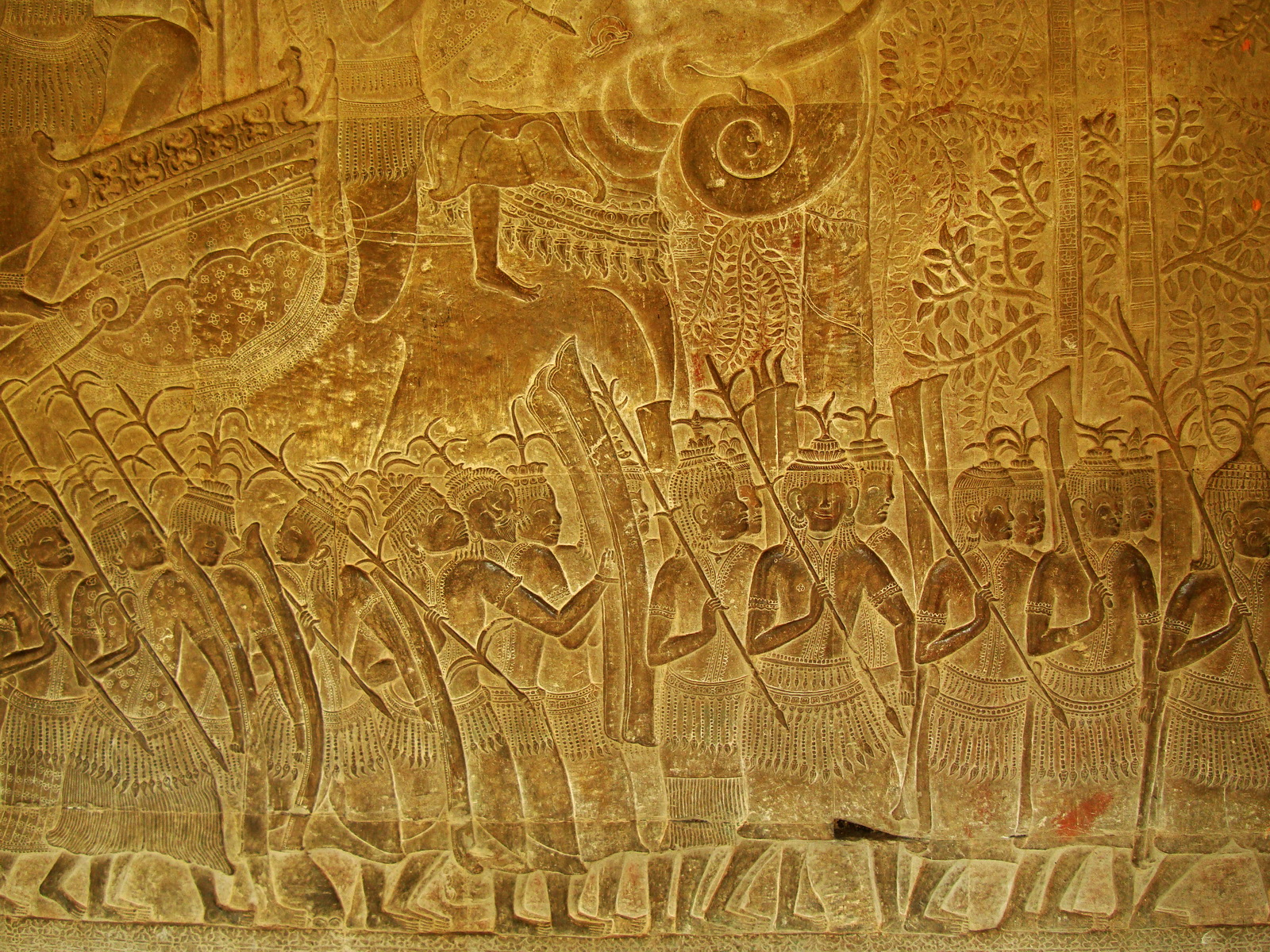 Angkor Wat Bas relief S Gallery W Wing Historic Procession 109